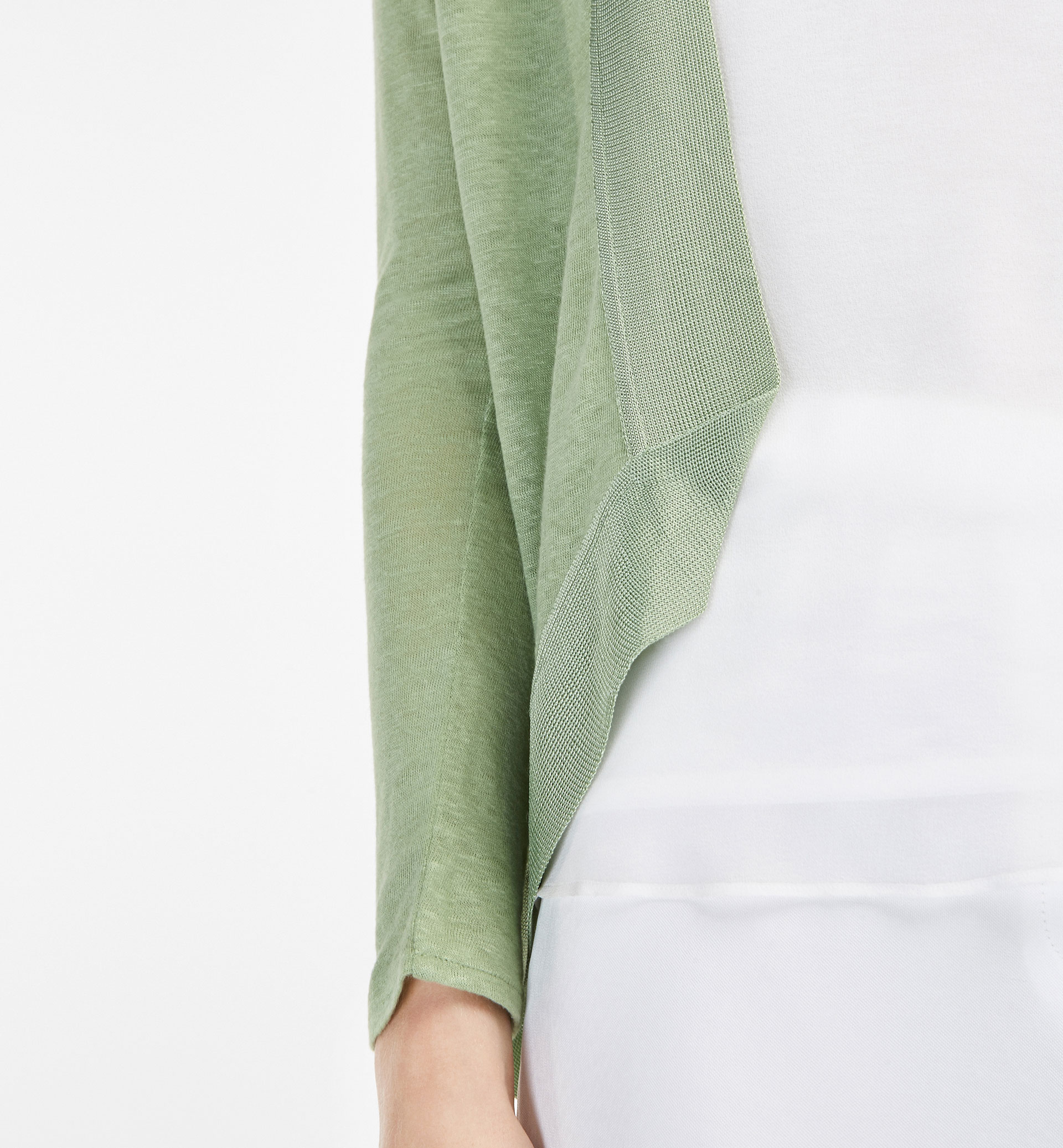LINEN CARDIGAN WITH EDGING DETAIL