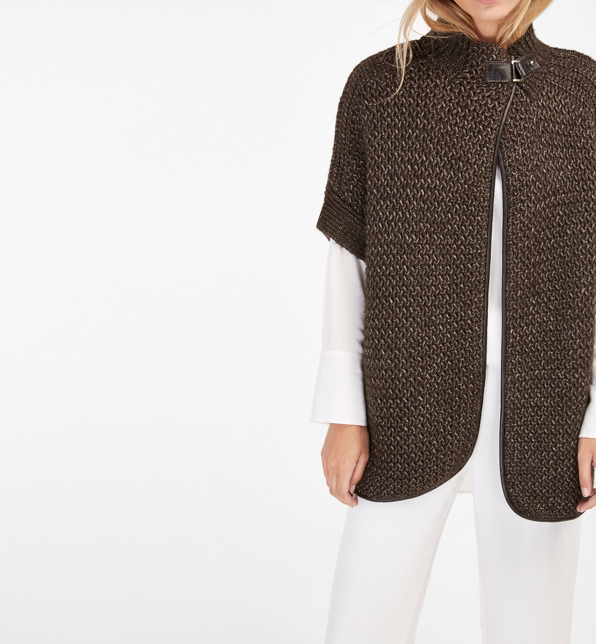 PIPED OPEN CARDIGAN WITH LEATHER BUCKLE