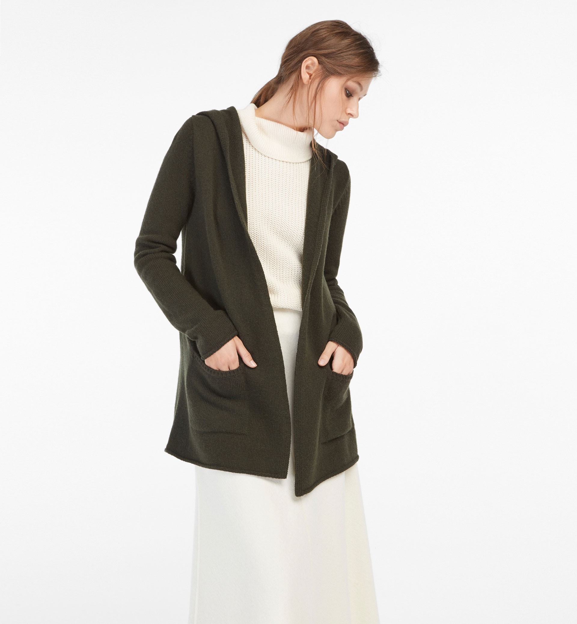 OPEN CARDIGAN WITH HOOD DETAIL