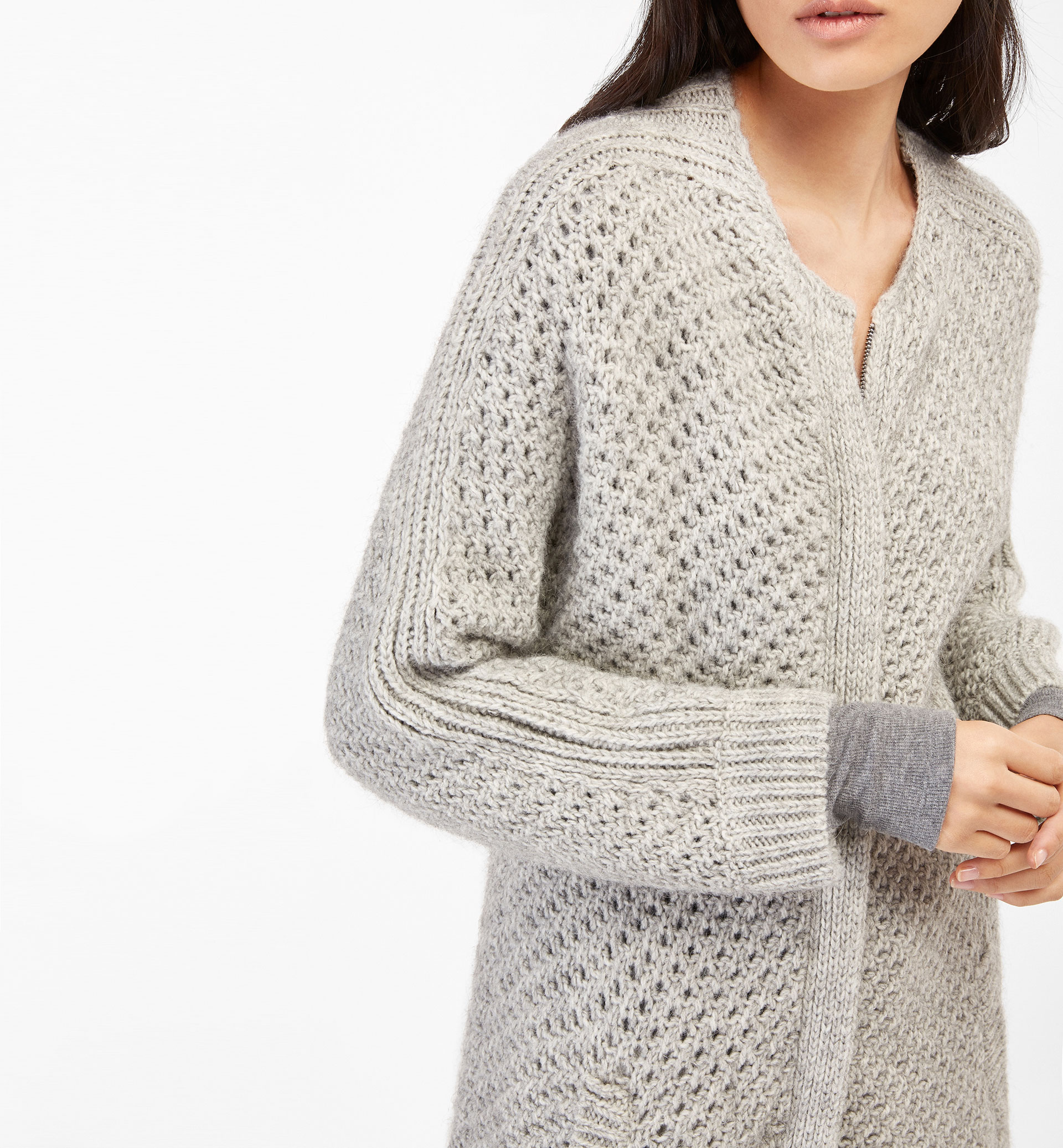 TEXTURED WEAVE CARDIGAN WITH ZIP FASTENING