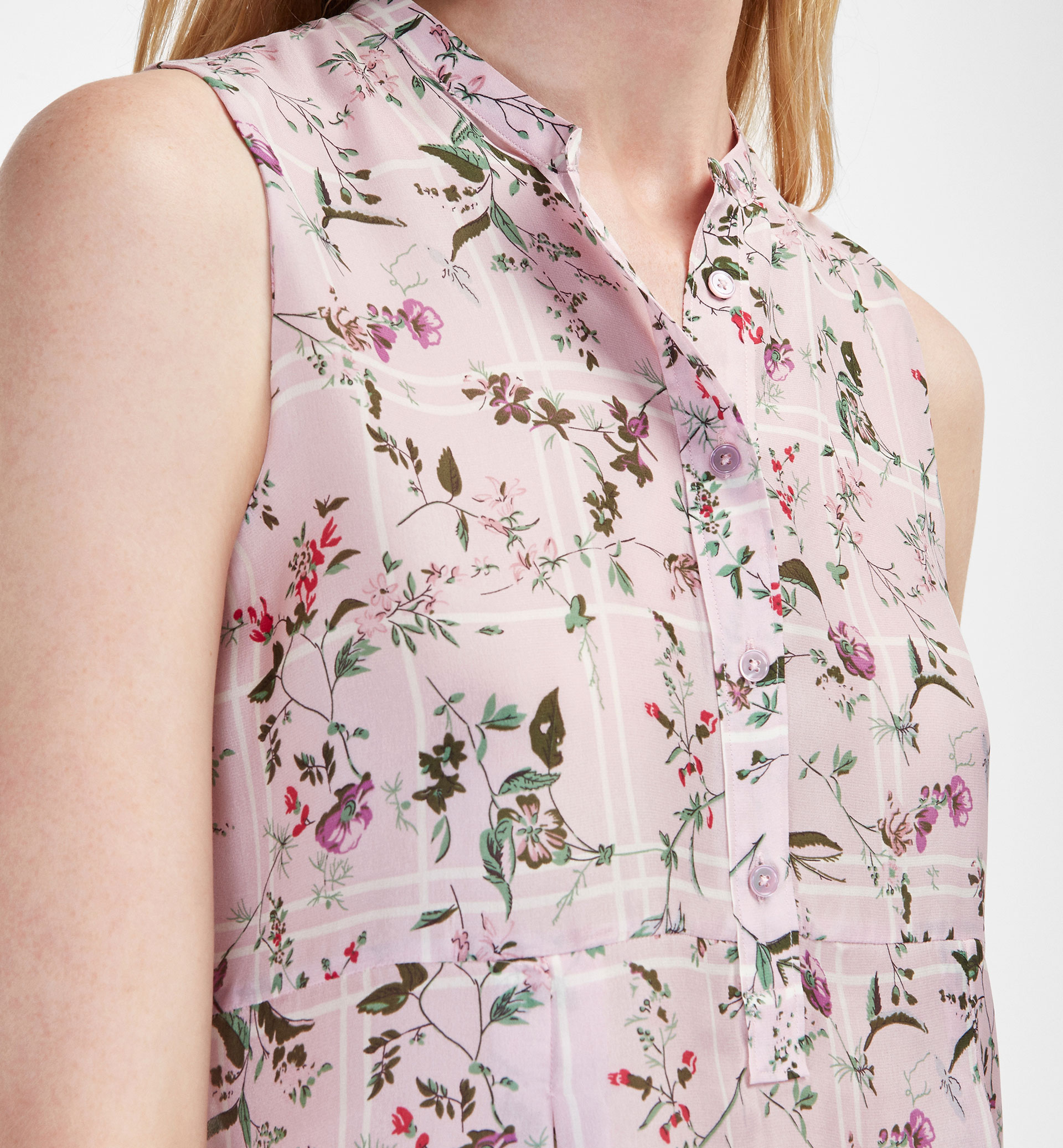 CHECK AND FLOWER PRINT SILK TOP