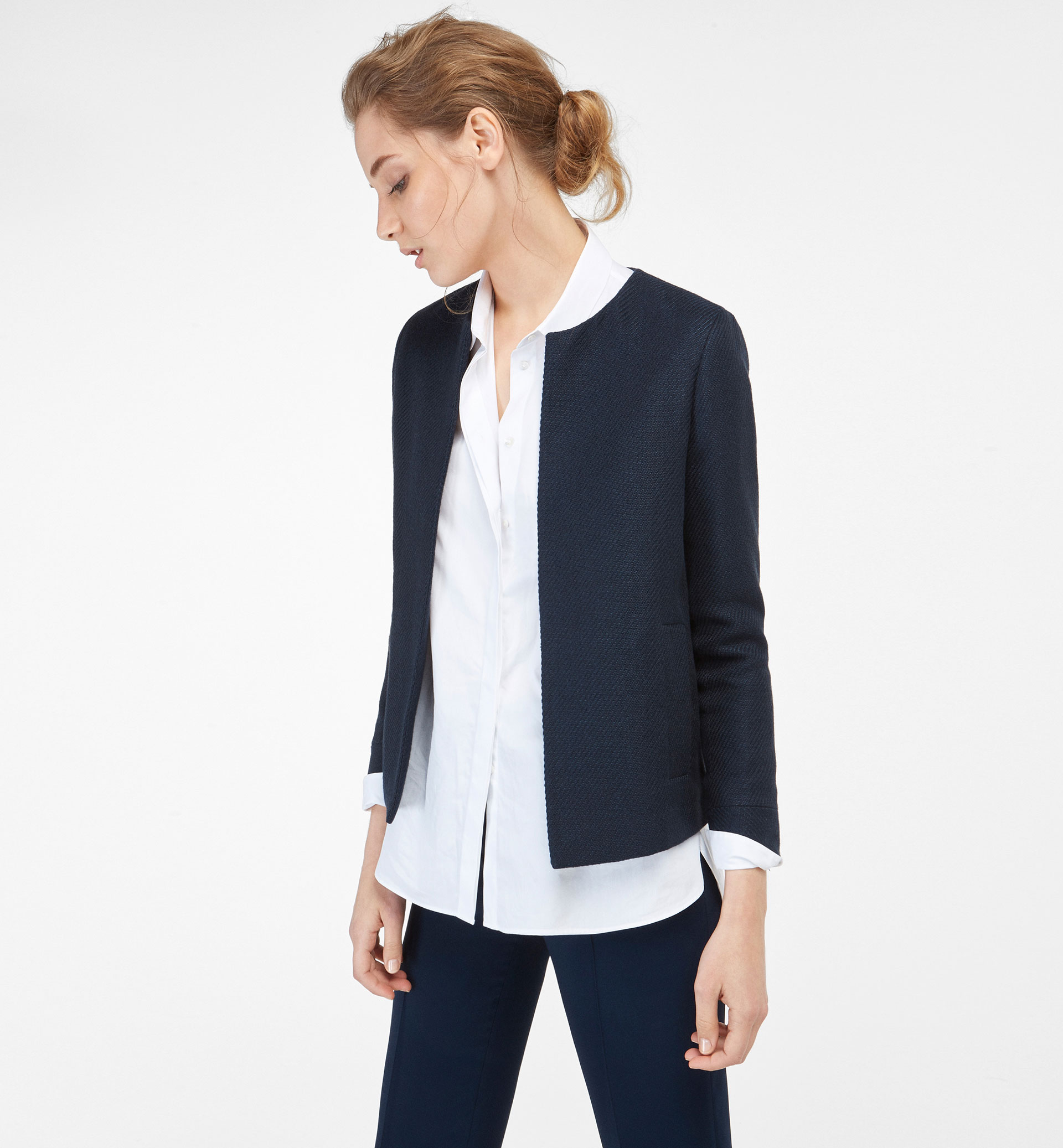 NAVY BLUE CAPE-STYLE JACKET
