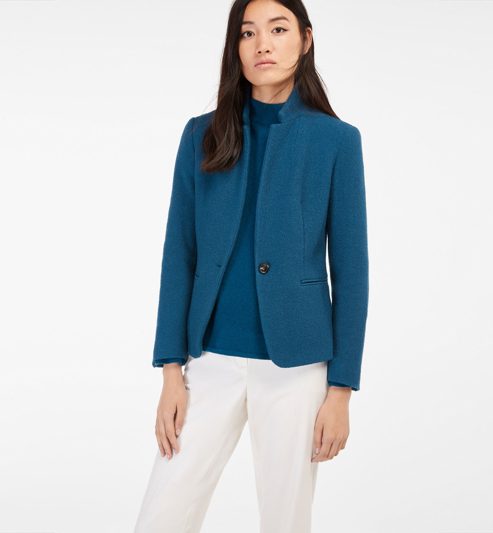 GREEN TEXTURED WEAVE WOOL BLAZER