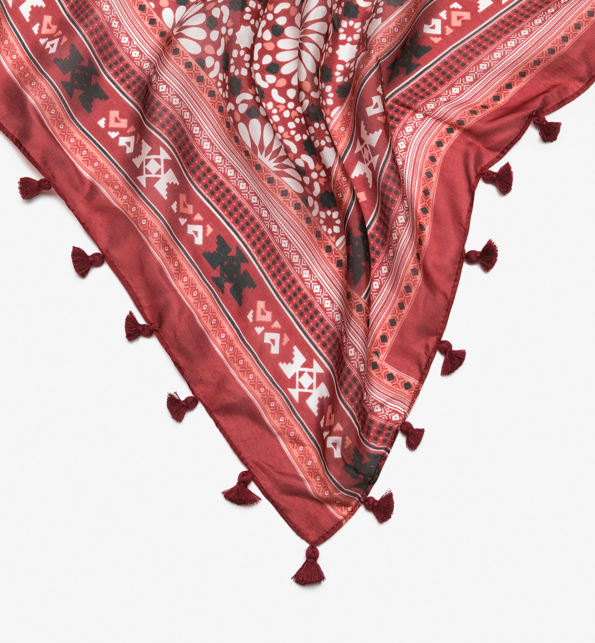 FLORAL CHECKED SILK FOULARD