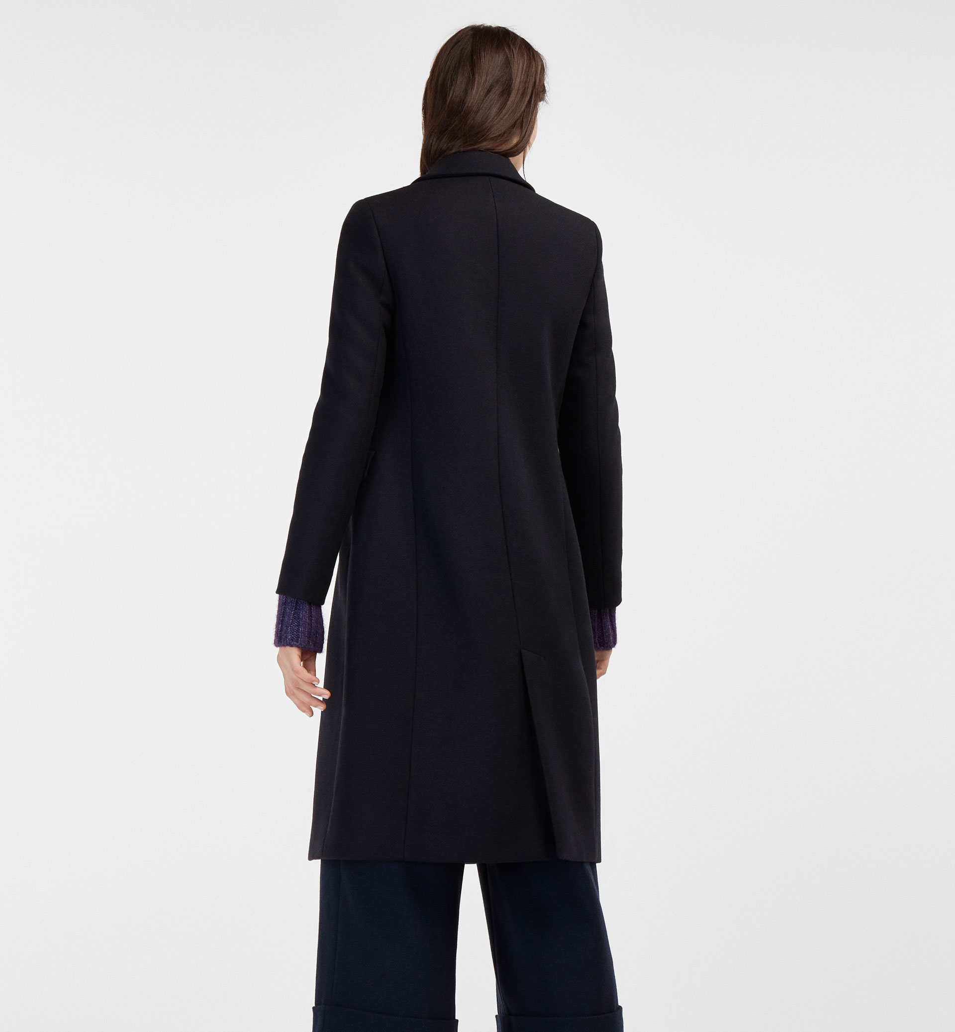 DOUBLE-BREASTED NAVY BLUE COAT