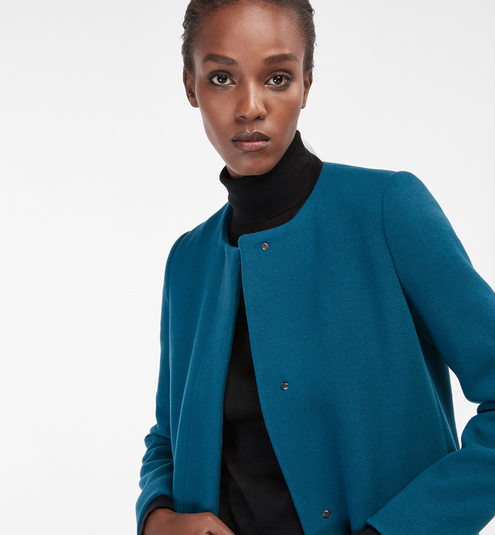 BLUE COAT WITH CONCEALED BUTTON DETAIL