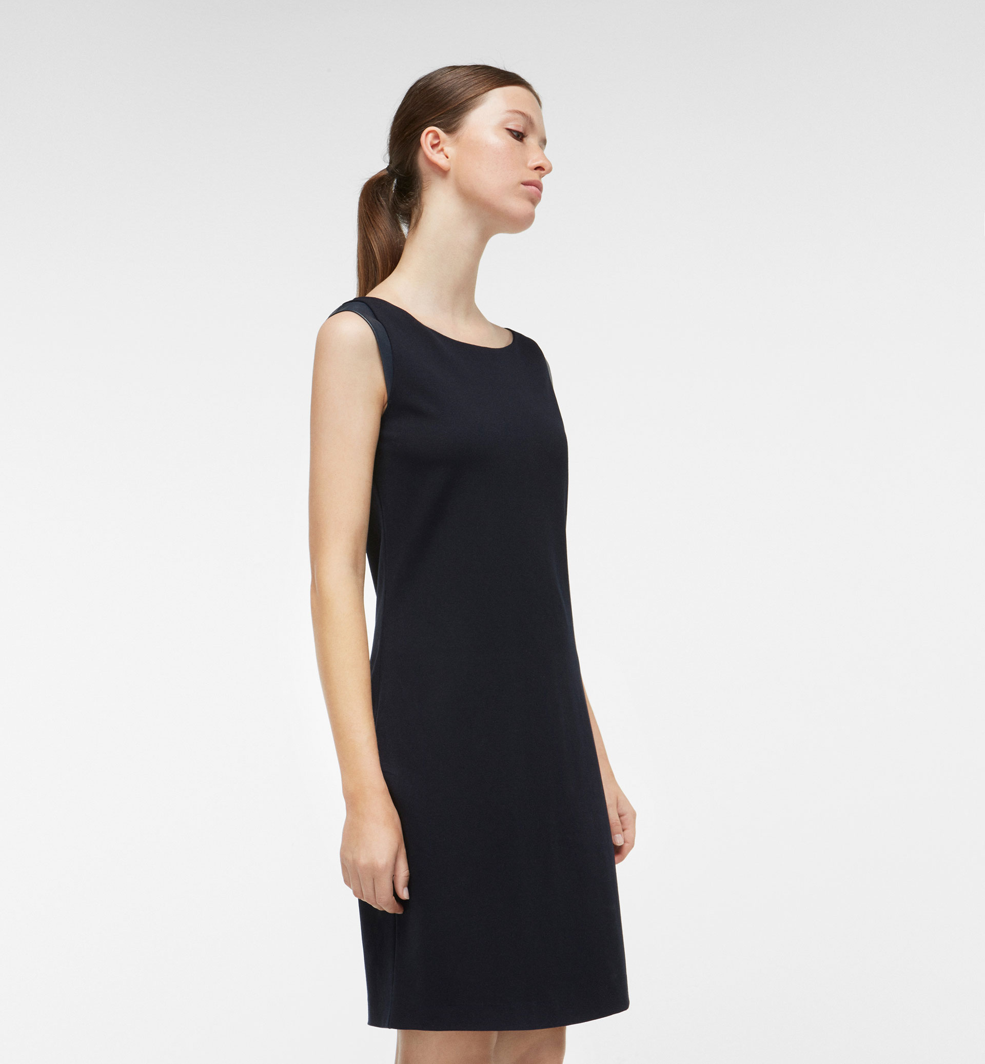 SLEEVELESS DRESS WITH LEATHER DETAILING