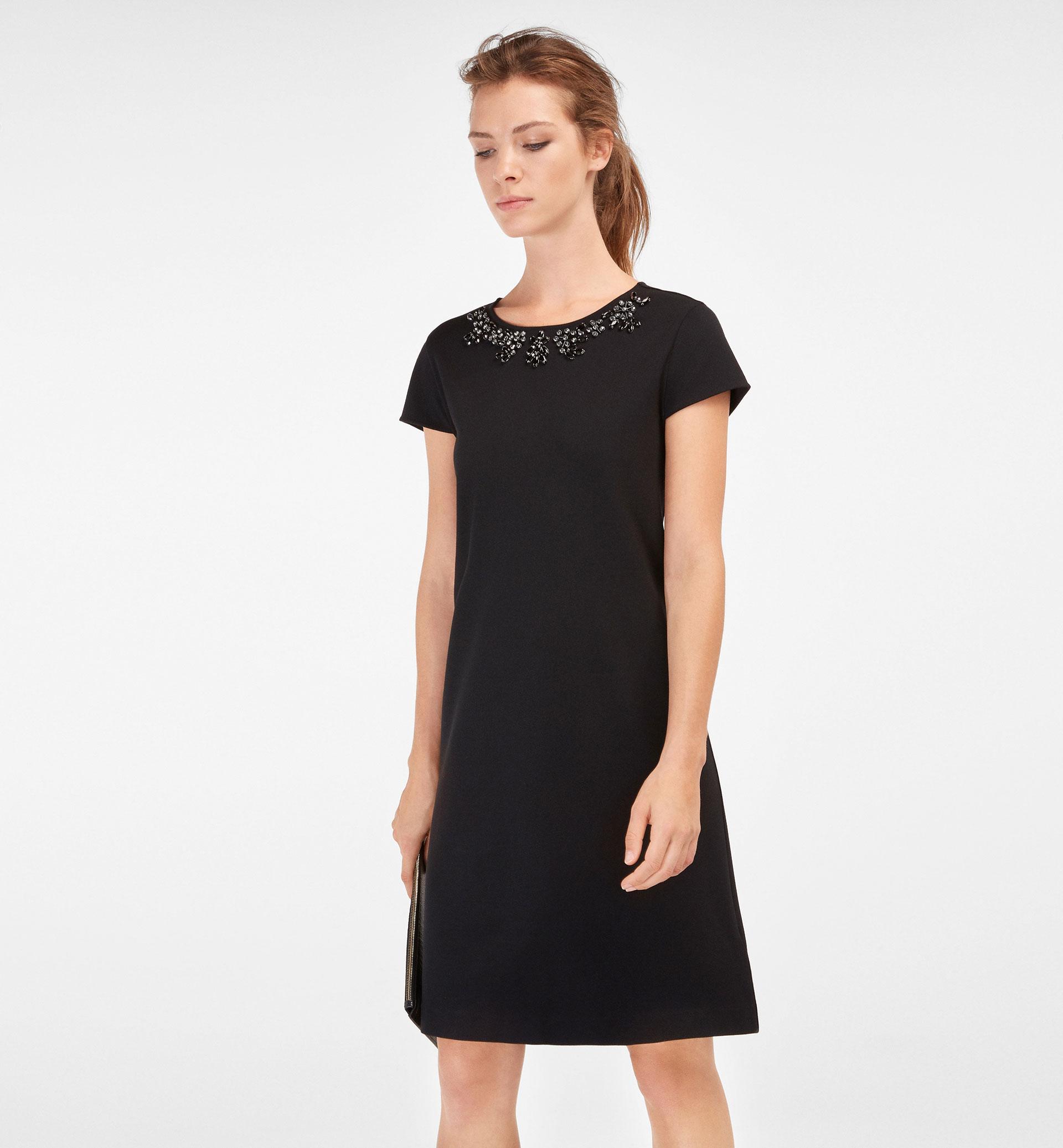 BLACK DRESS, JEWELLED NECKLINE