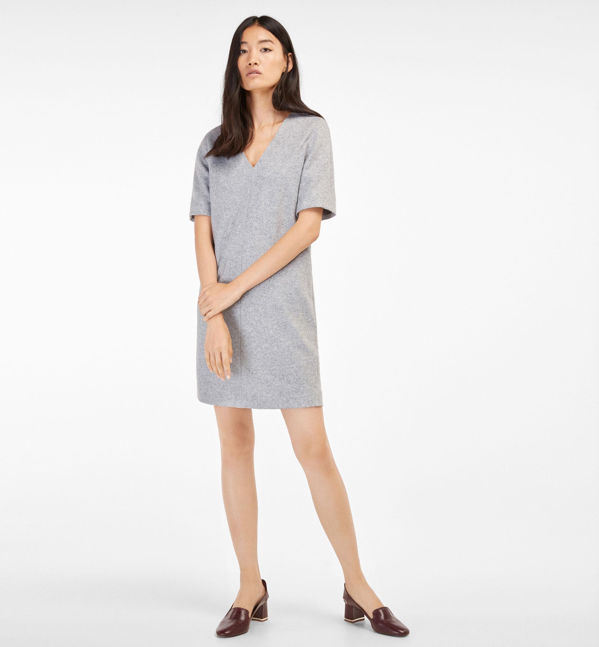 GREY DRESS WITH V-NECK