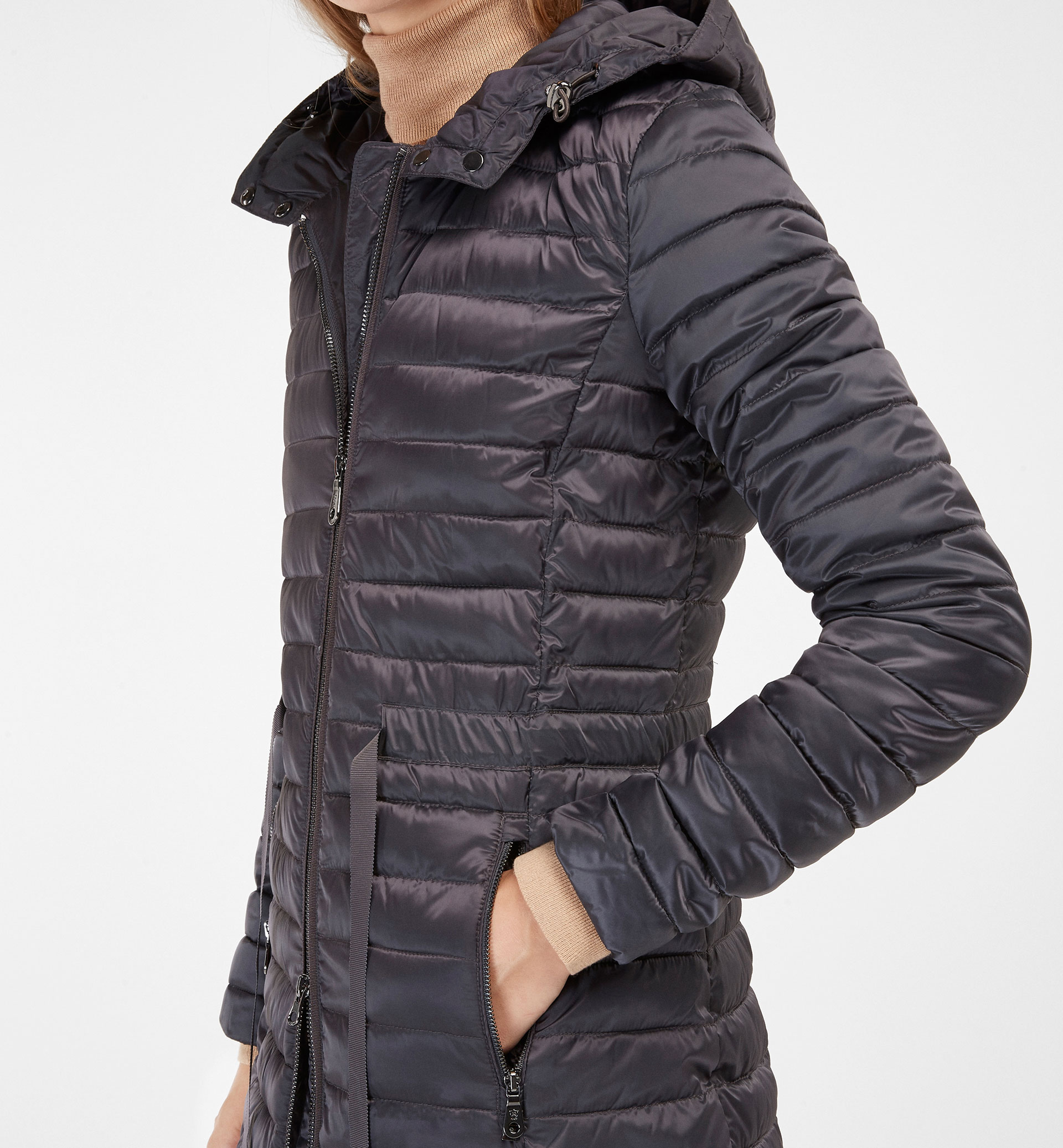GREY QUILTED PARKA WITH GROSGRAIN DETAIL