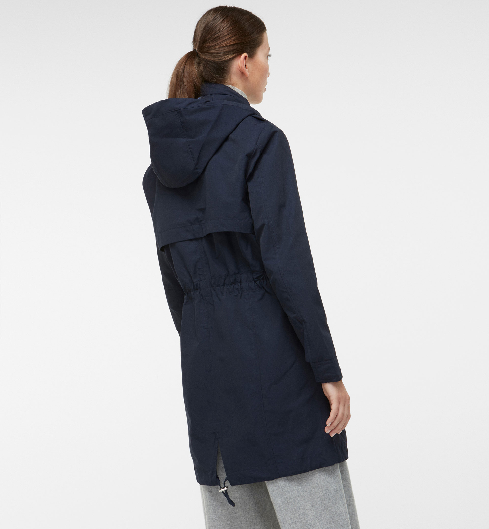 NAVY BLUE PARKA WITH DETACHABLE LINING DETAIL