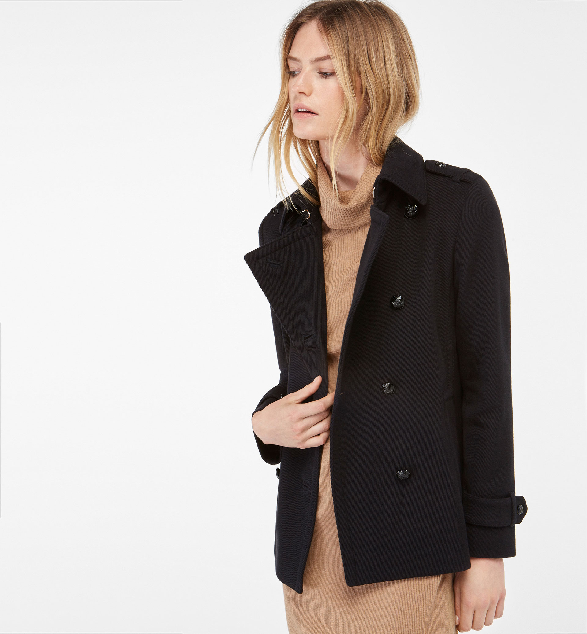 DOUBLE BREASTED THREE-QUARTER LENGTH JACKET