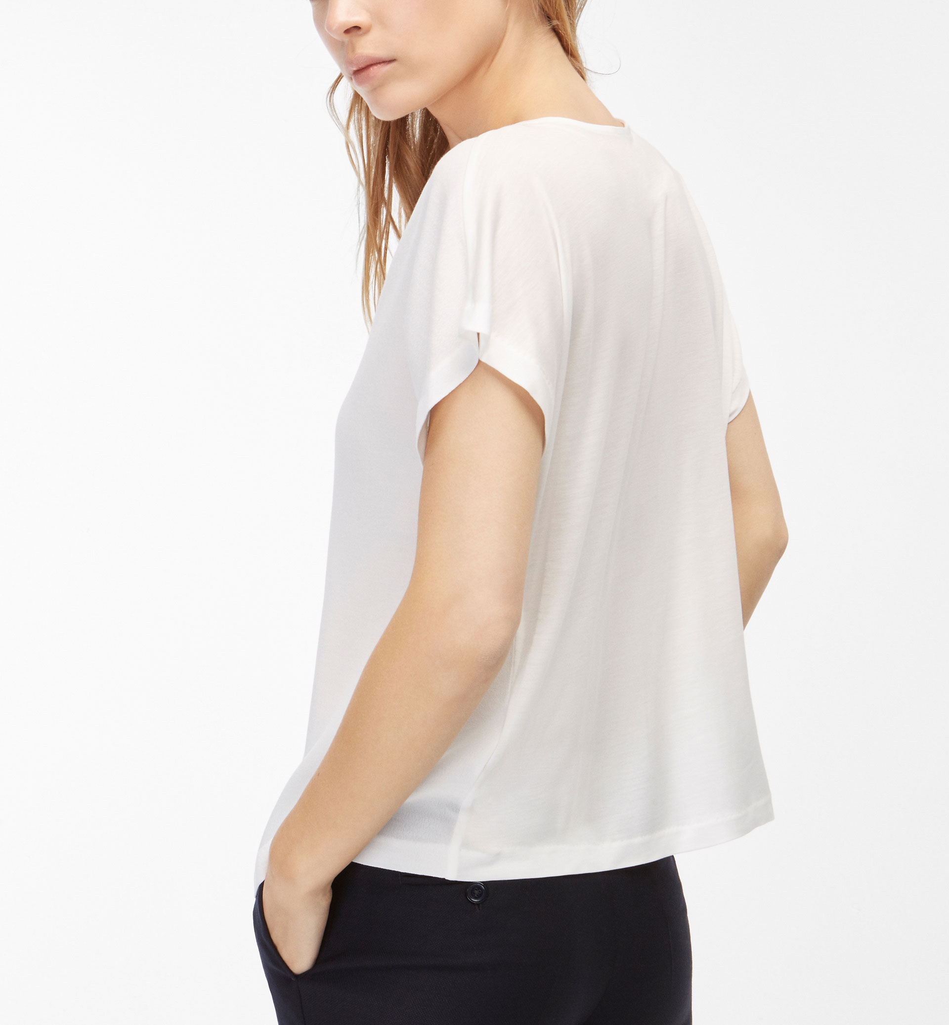 T-SHIRT WITH FRONT PLEAT