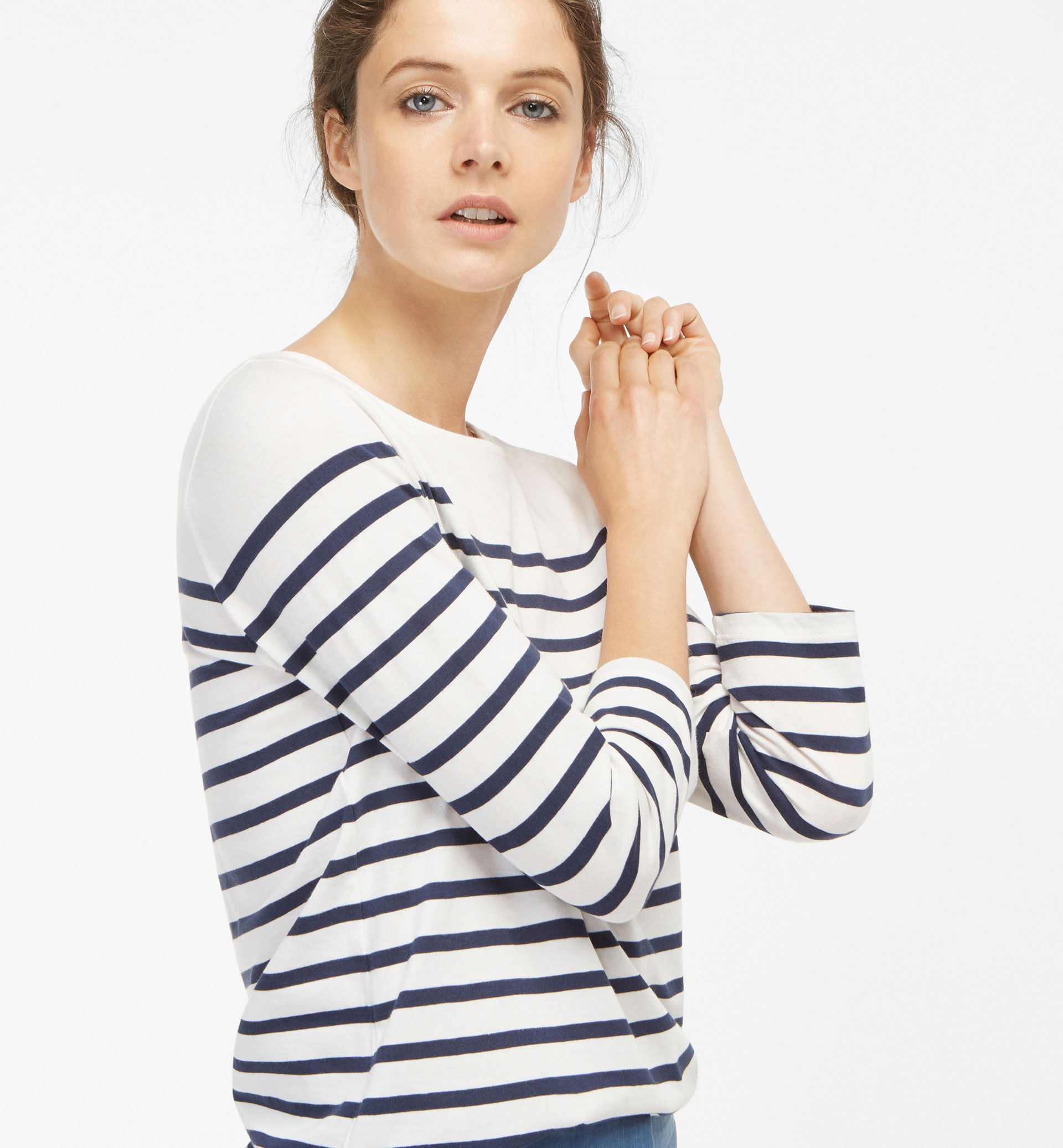 STRIPED T-SHIRT WITH FRONT BOW