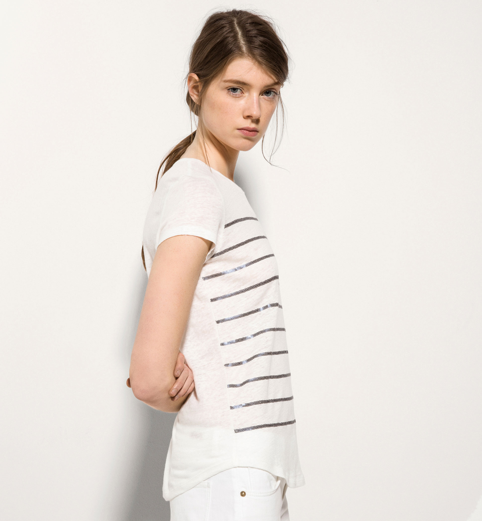 SEQUIN STRIPES T-SHIRT