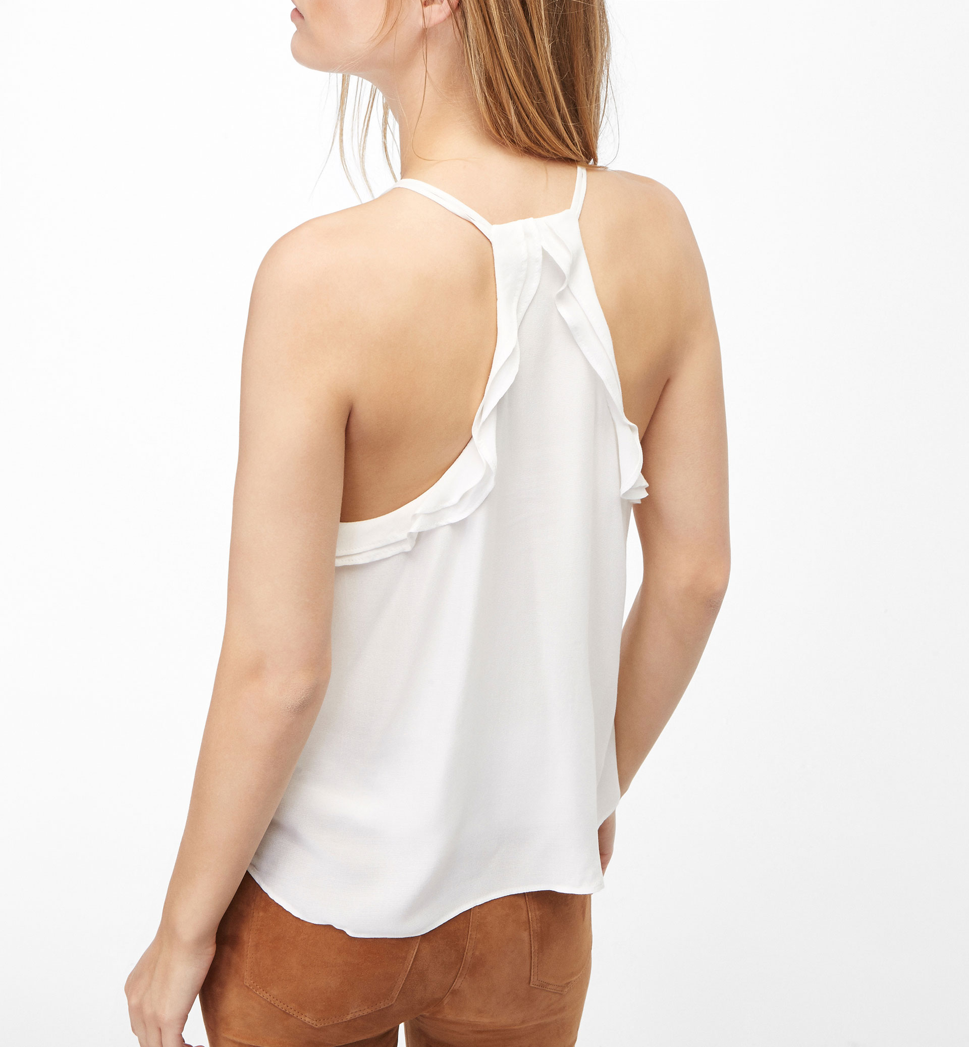 HALTER NECK TOP WITH FRILLS