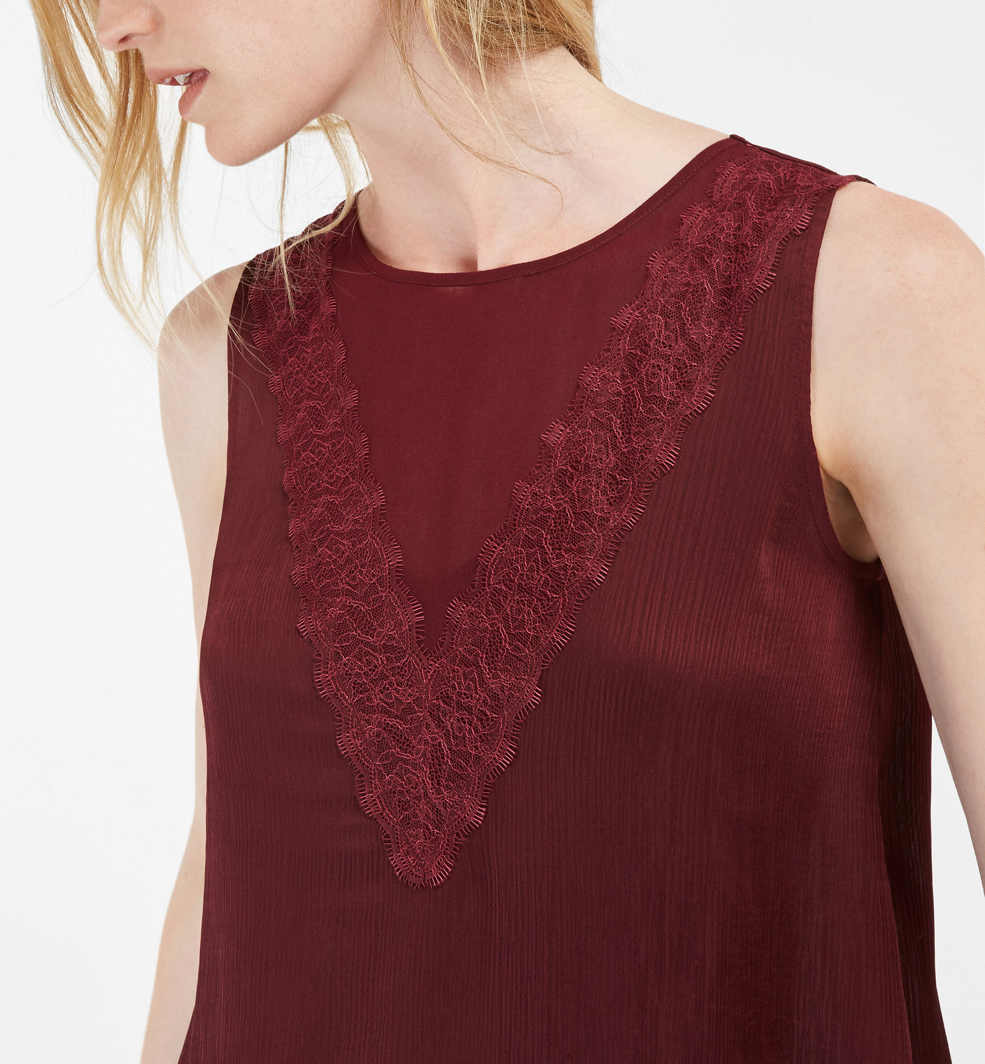 T-SHIRT WITH SHEER AND BLONDE LACE DETAIL