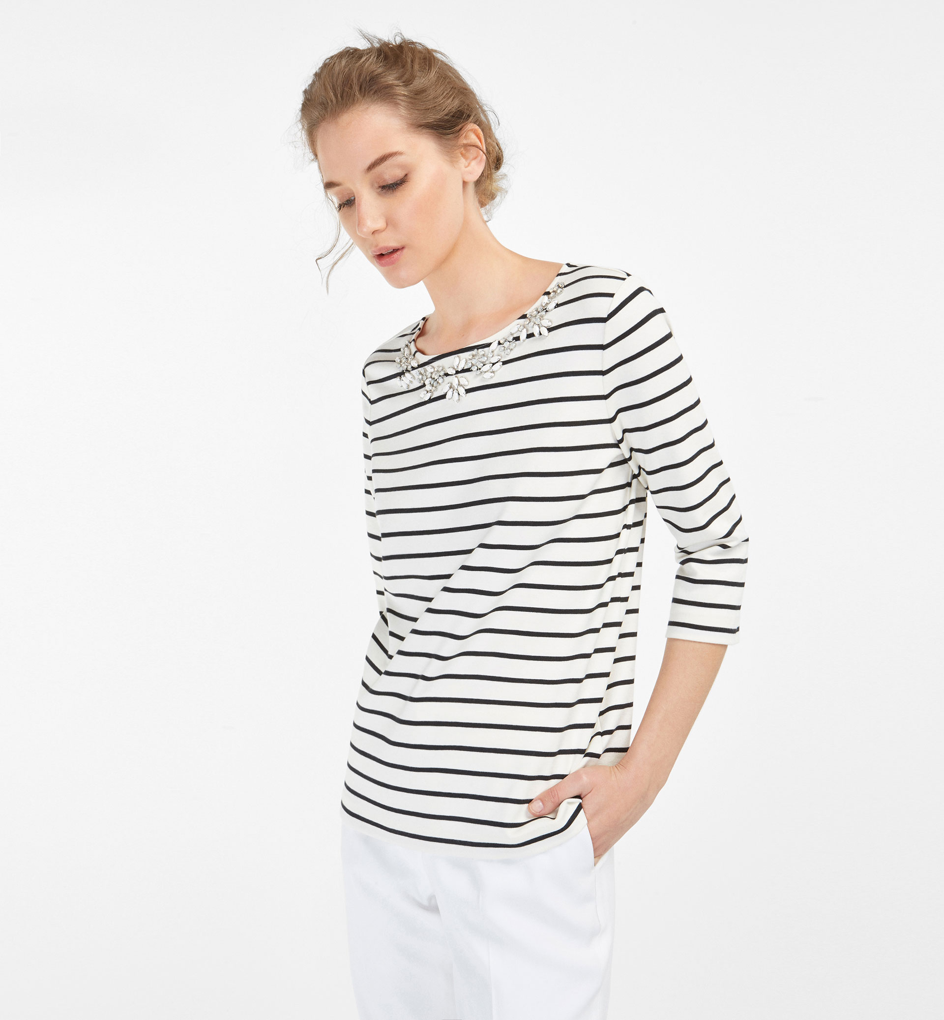 STRIPED SWEATSHIRT WITH JEWELLED NECKLINE