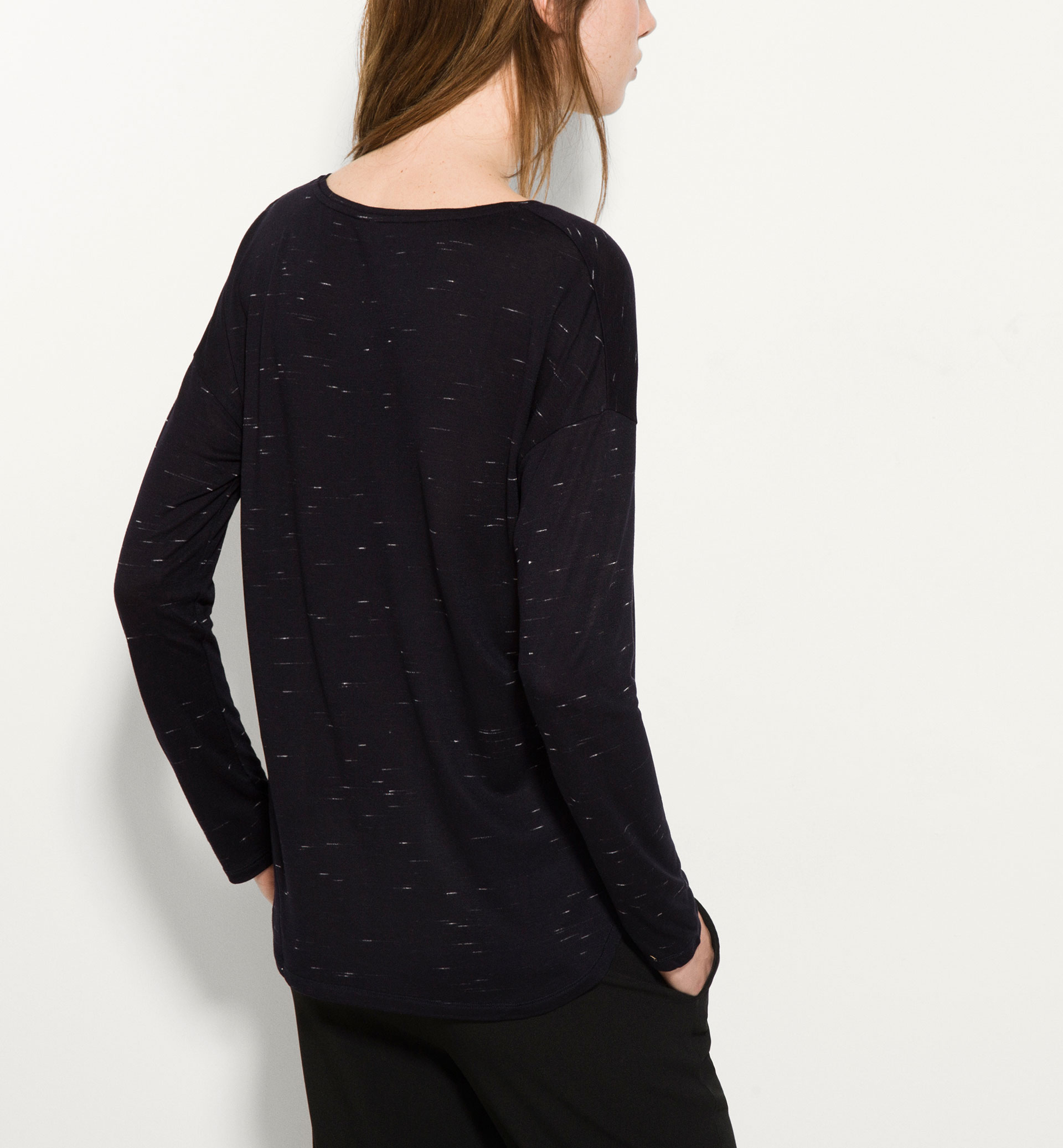 LONG SLEEVE FLECKED TOP