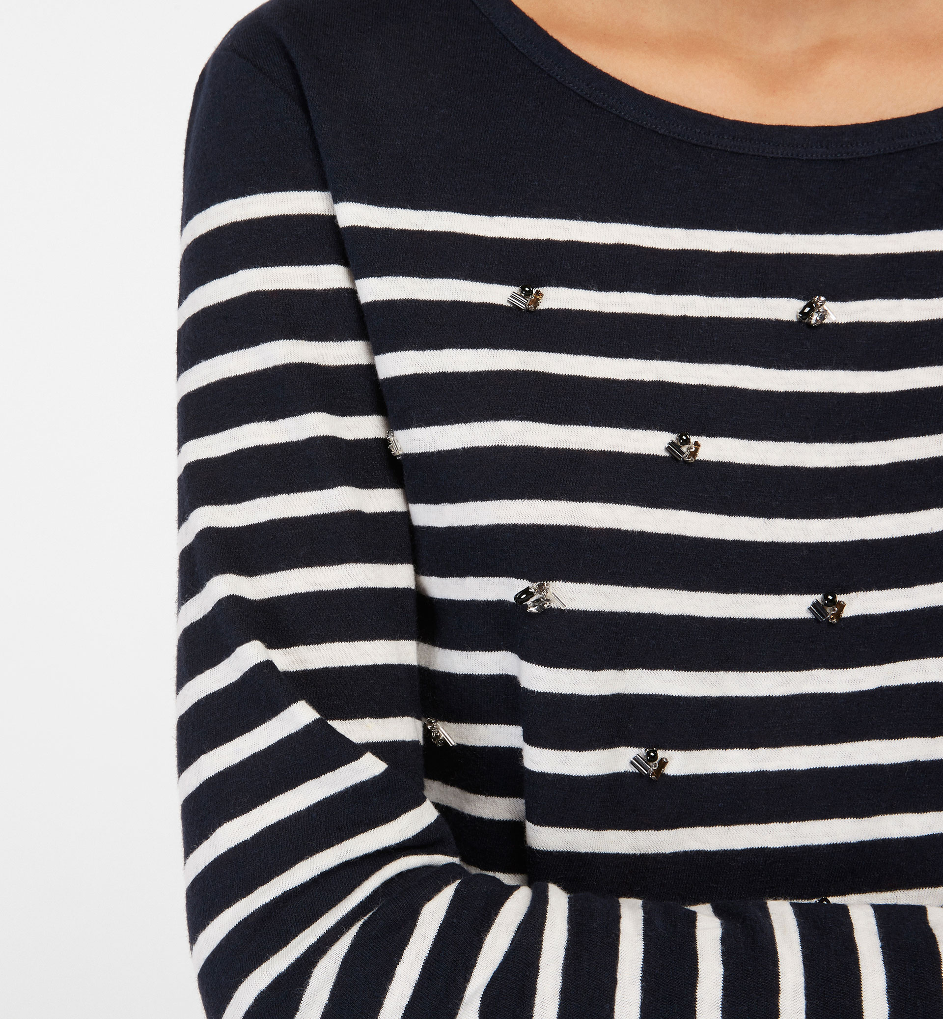 STRIPED T-SHIRT WITH GEM DETAIL