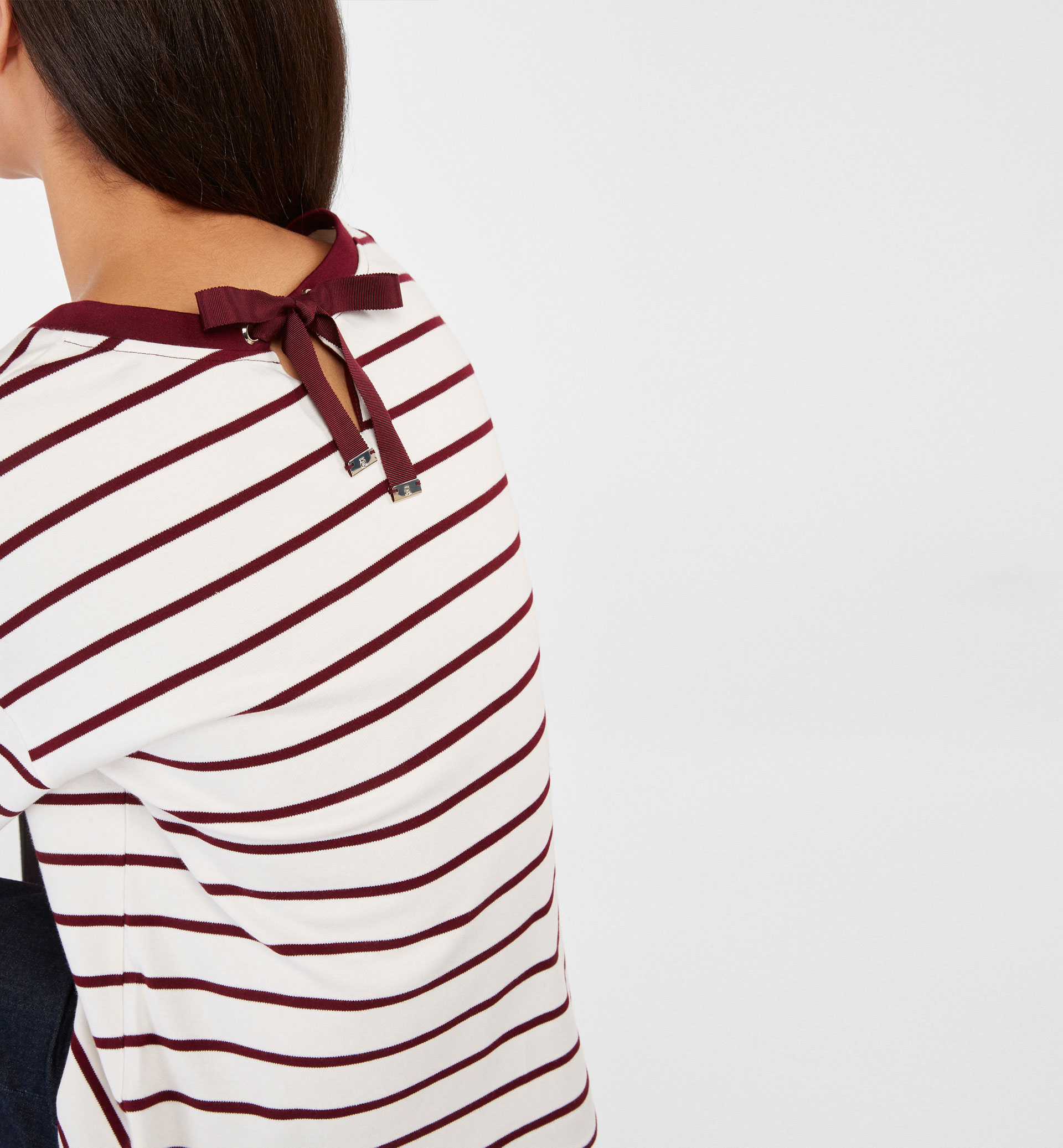 BURGUNDY STRIPED SWEATSHIRT
