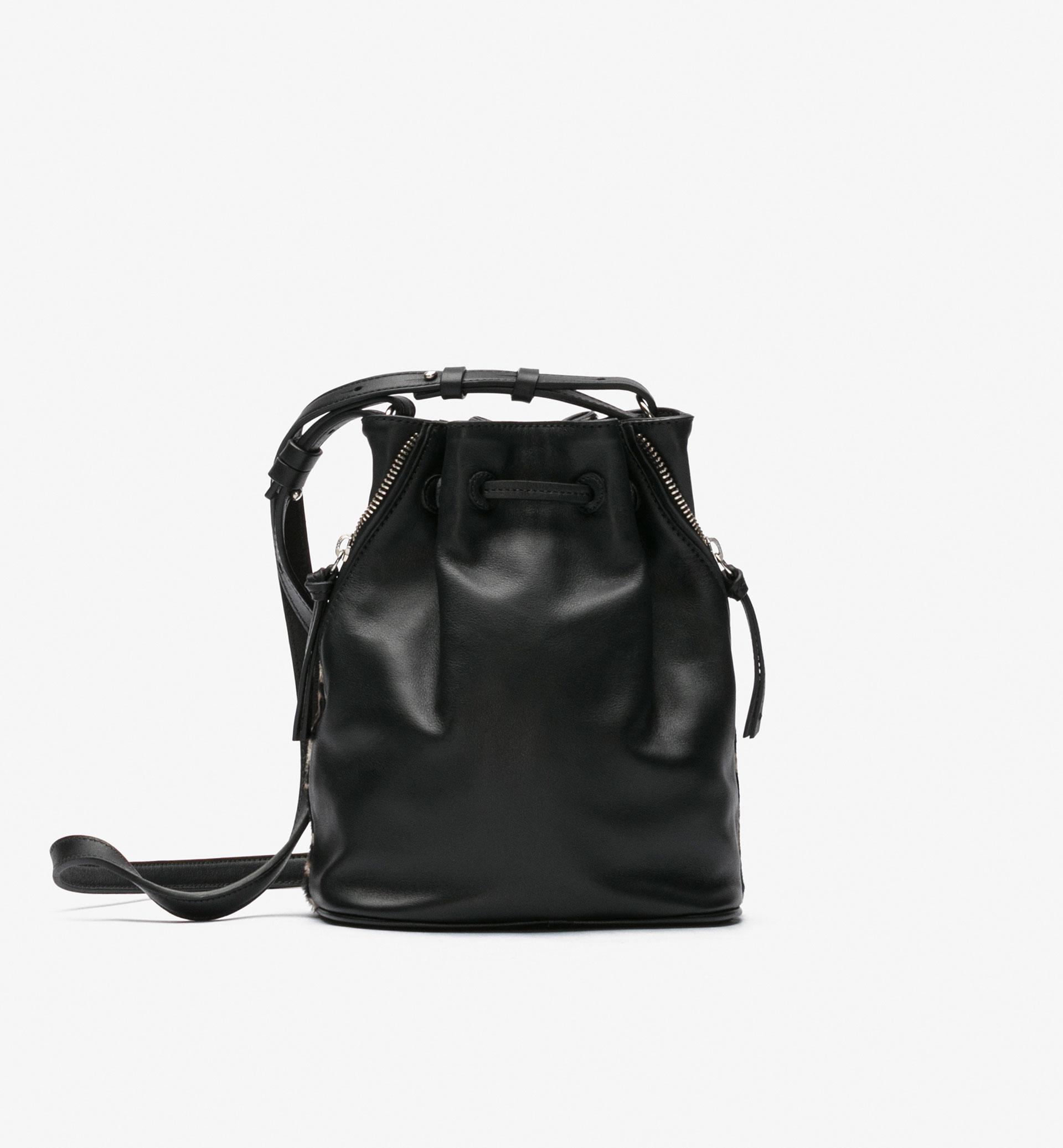 CONTRAST LEOPARD-PRINT BUCKET BAG
