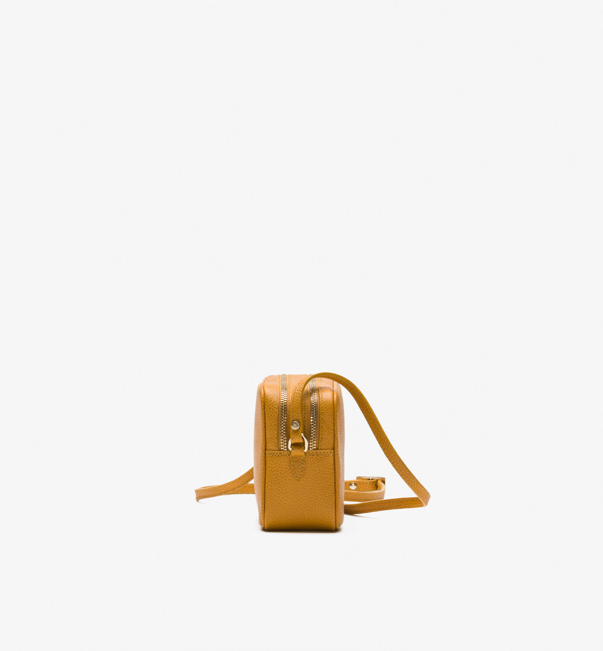 EMBOSSED LEATHER CROSSBODY BAG WITH DOUBLE ZIP
