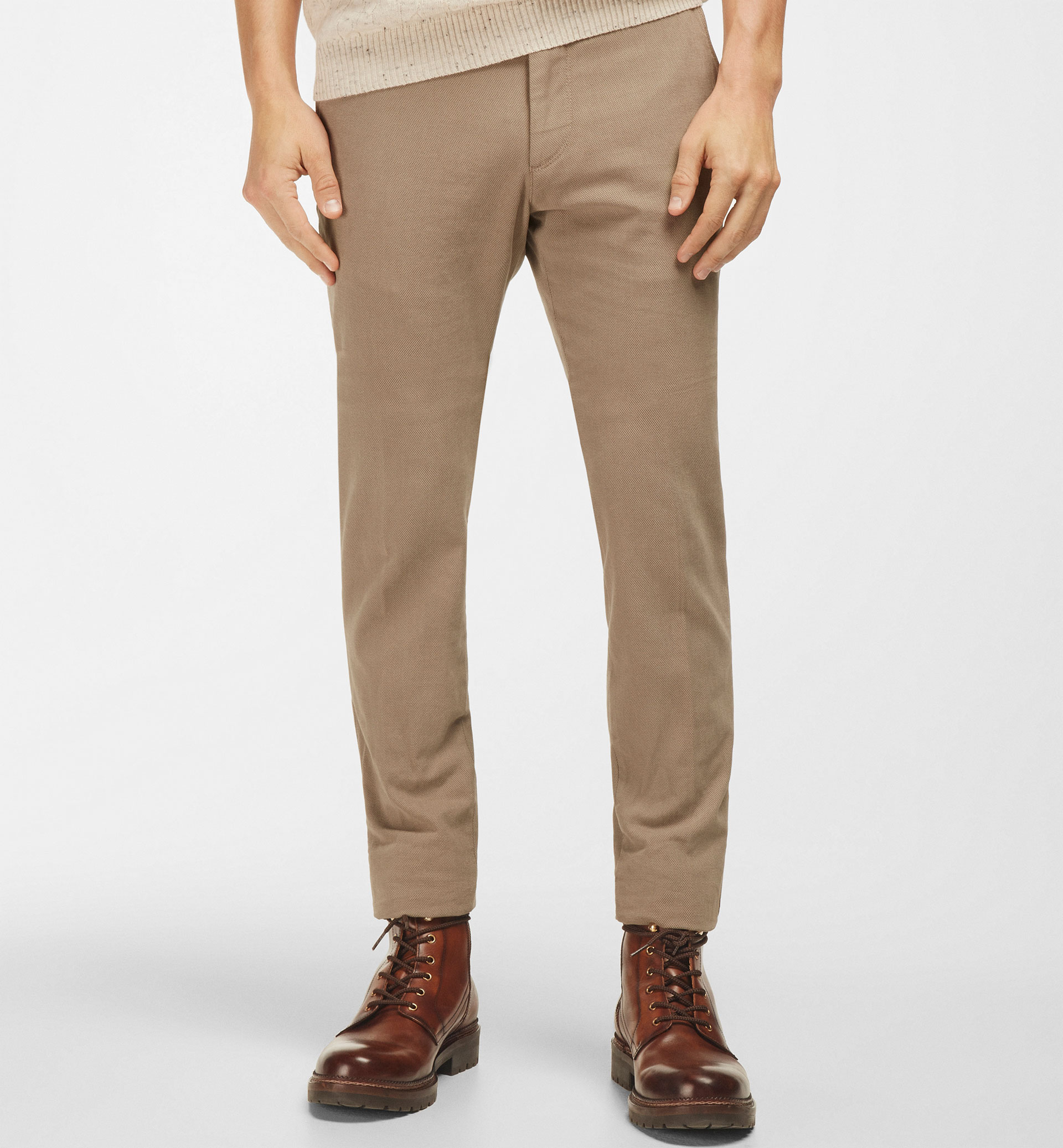 TEXTURED WEAVE CHINO TROUSERS WITH DETAIL AT WAIST