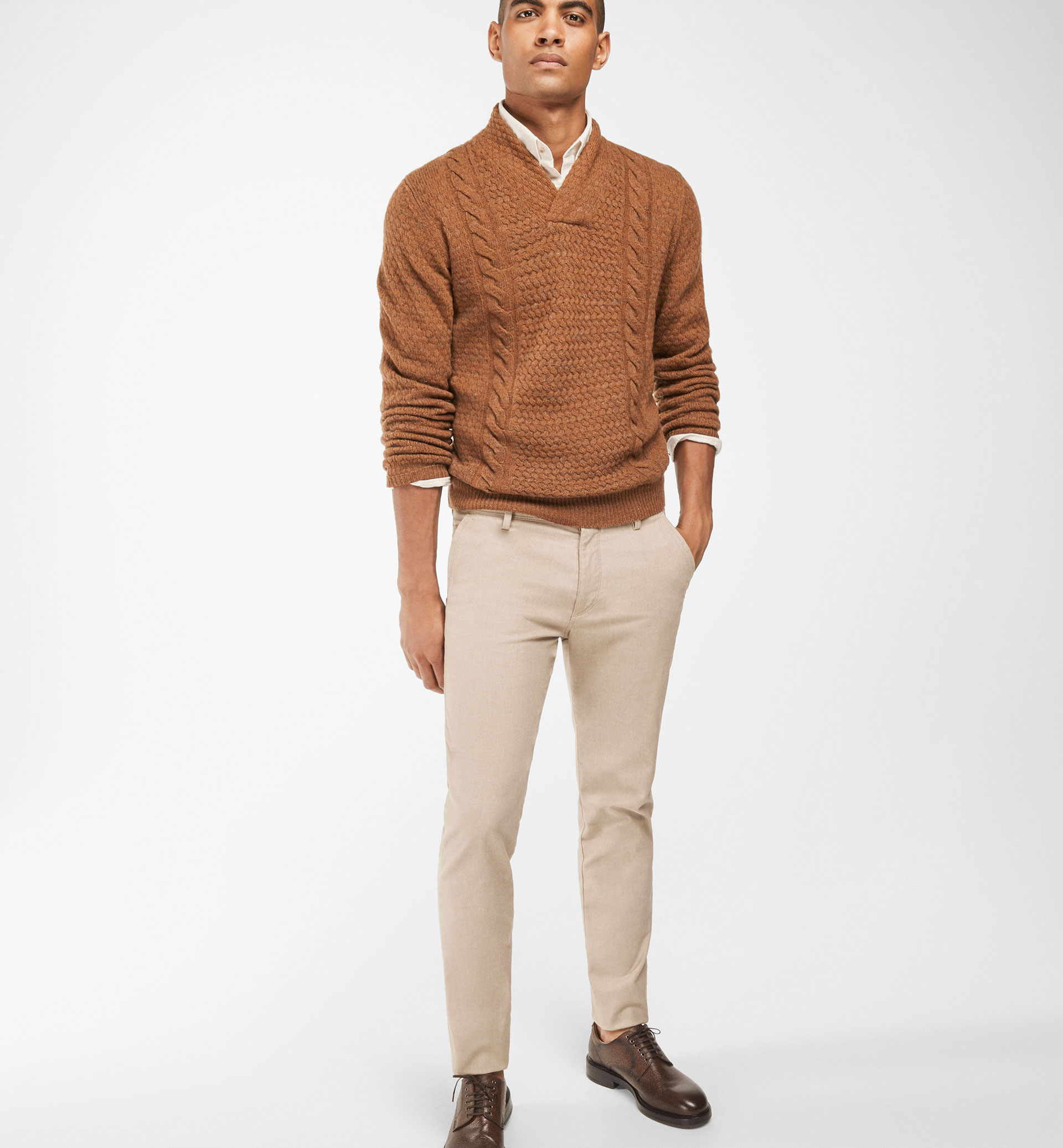 MELANGE TWILL CHINO TROUSERS