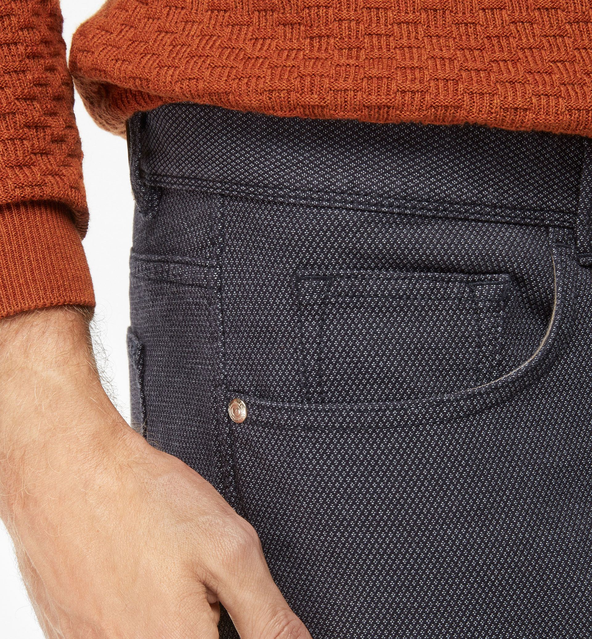 TWO-TONE TEXTURED 5 POCKET TROUSERS