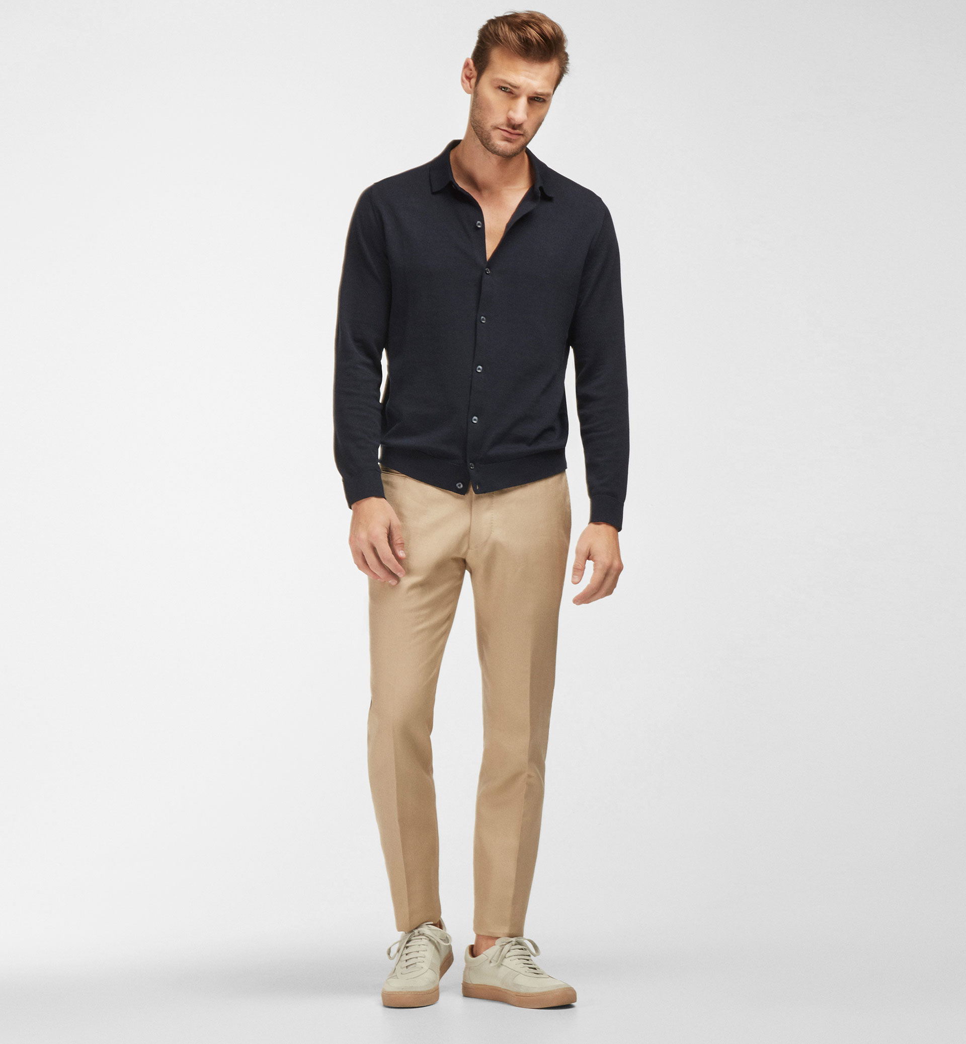 LINEN AND COTTON HERRINGBONE TROUSERS