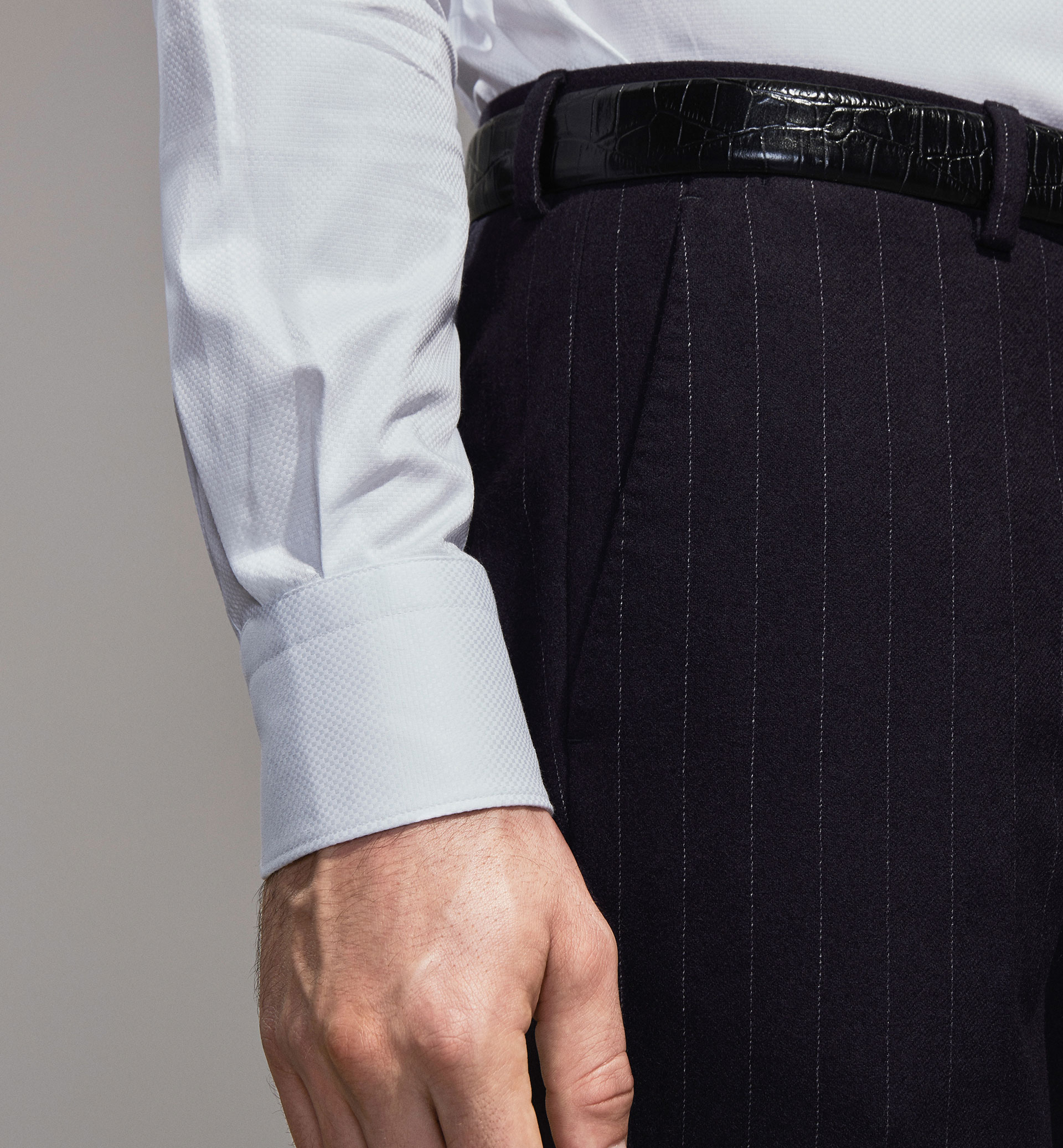 PERSONAL TAILORING PINSTRIPE WOOL TROUSERS