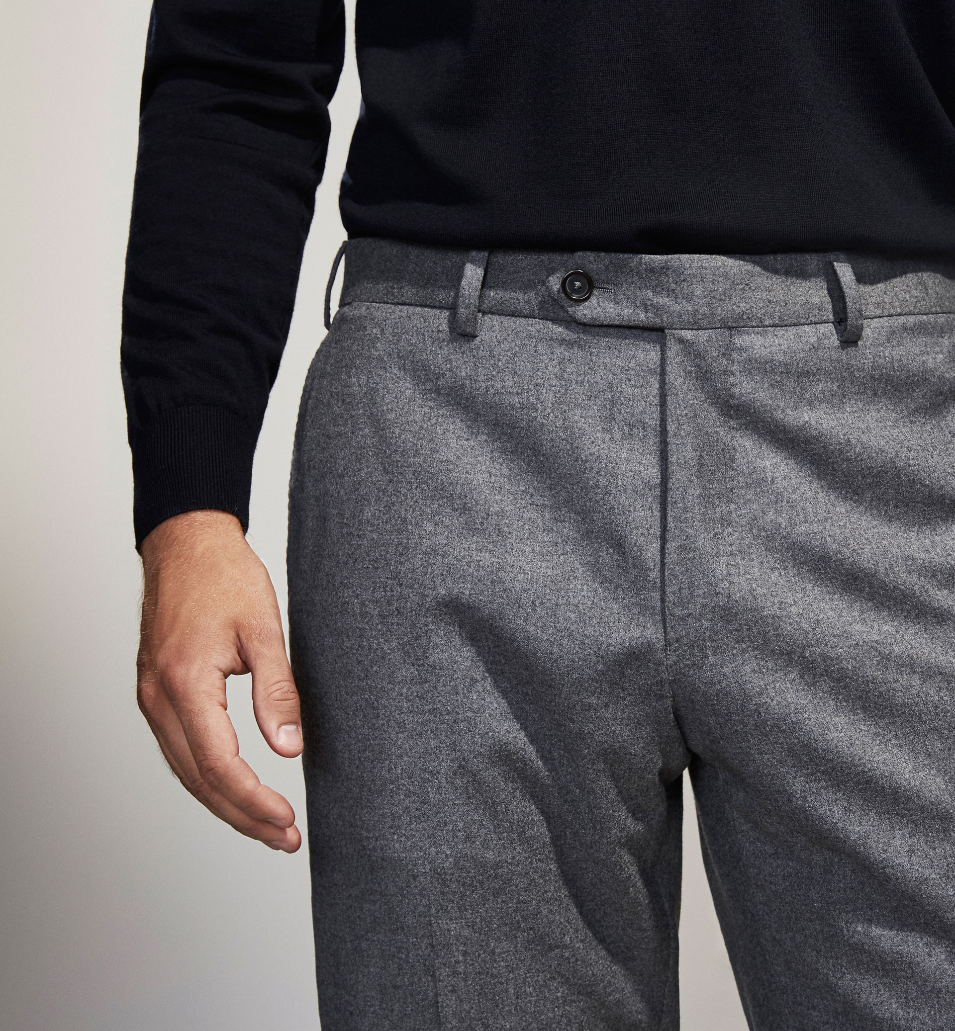PERSONAL TAILORING LIGHT GREY WOOL TROUSERS