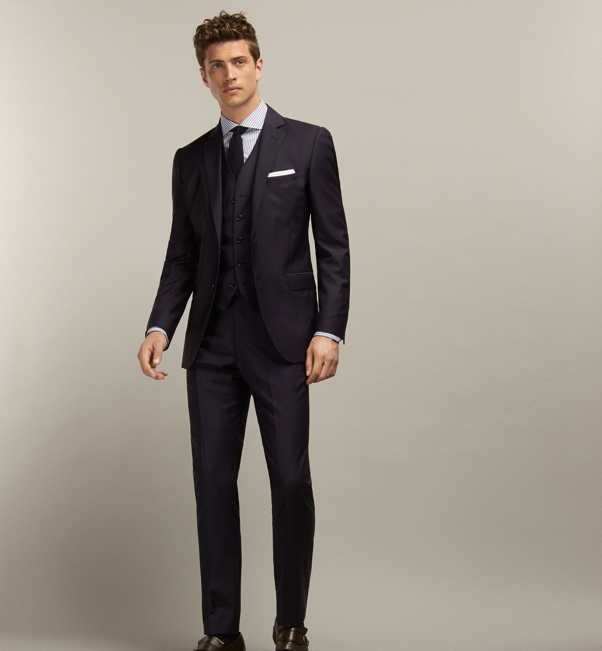 NAVY BLUE WOOL TROUSERS