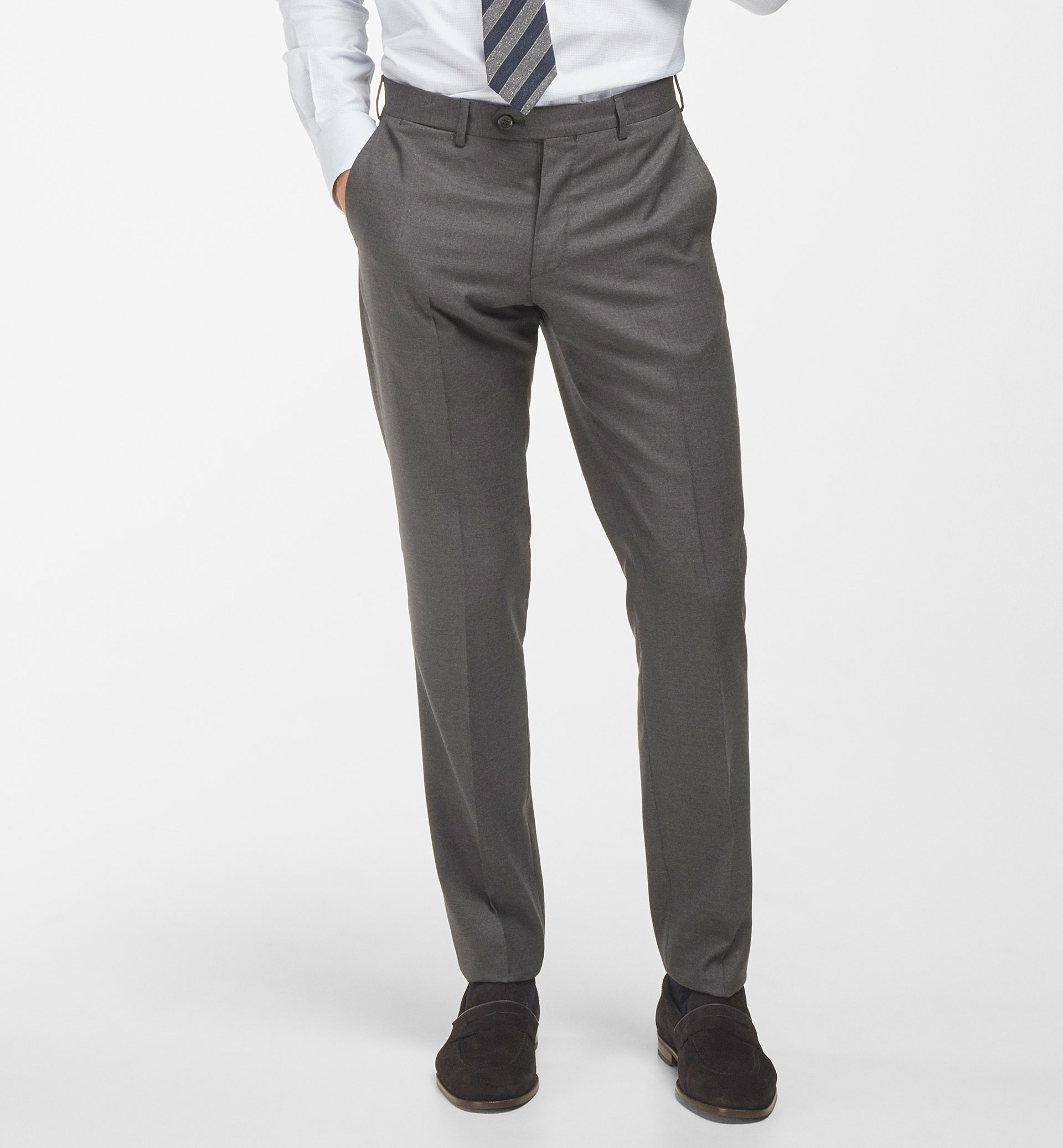 SLIM FIT WOOL NEEDLECORD SUIT TROUSERS