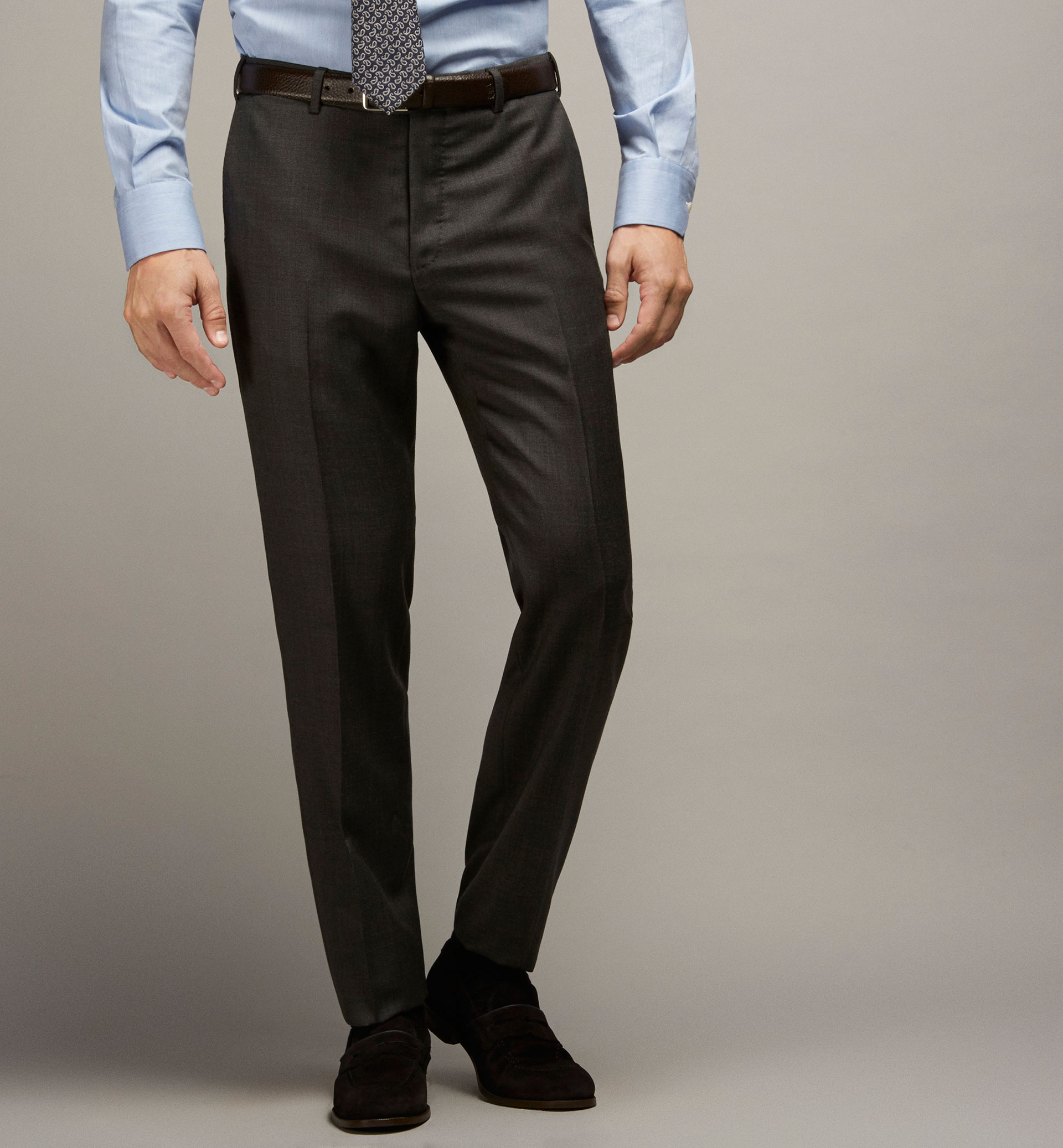 SLIM FIT TEXTURED WEAVE WOOL SUIT TROUSERS