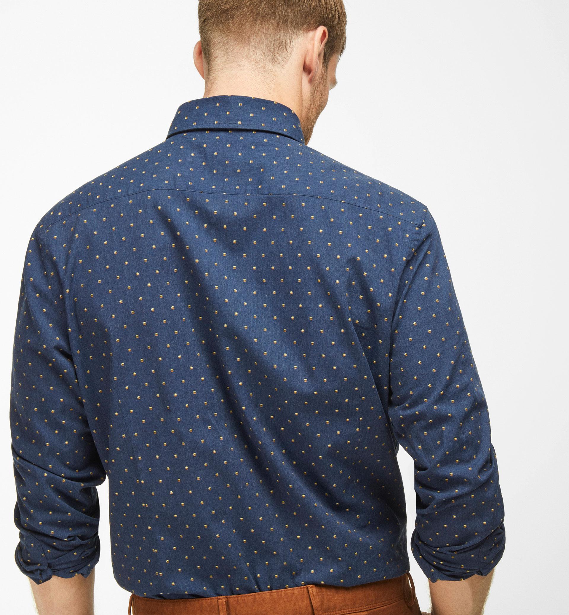 SLIM FIT NAVY BLUE SHIRT WITH FIL COUPÉ DESIGN