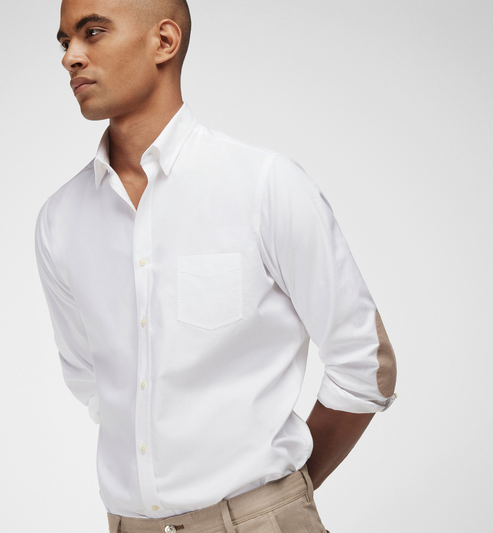 WHITE SLIM FIT SHIRT WITH BEIGE ELBOW PATCHES