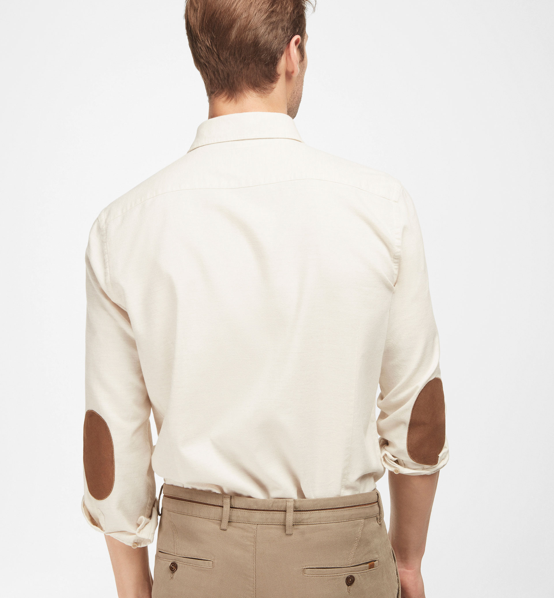 BEIGE SLIM-FIT SHIRT WITH LEATHER ELBOW PATCHES