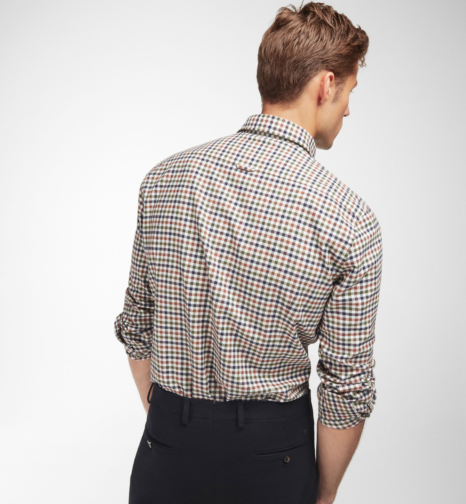 SLIM FIT GINGHAM CHECKED SHIRT WITH BEIGE BACKGROUND