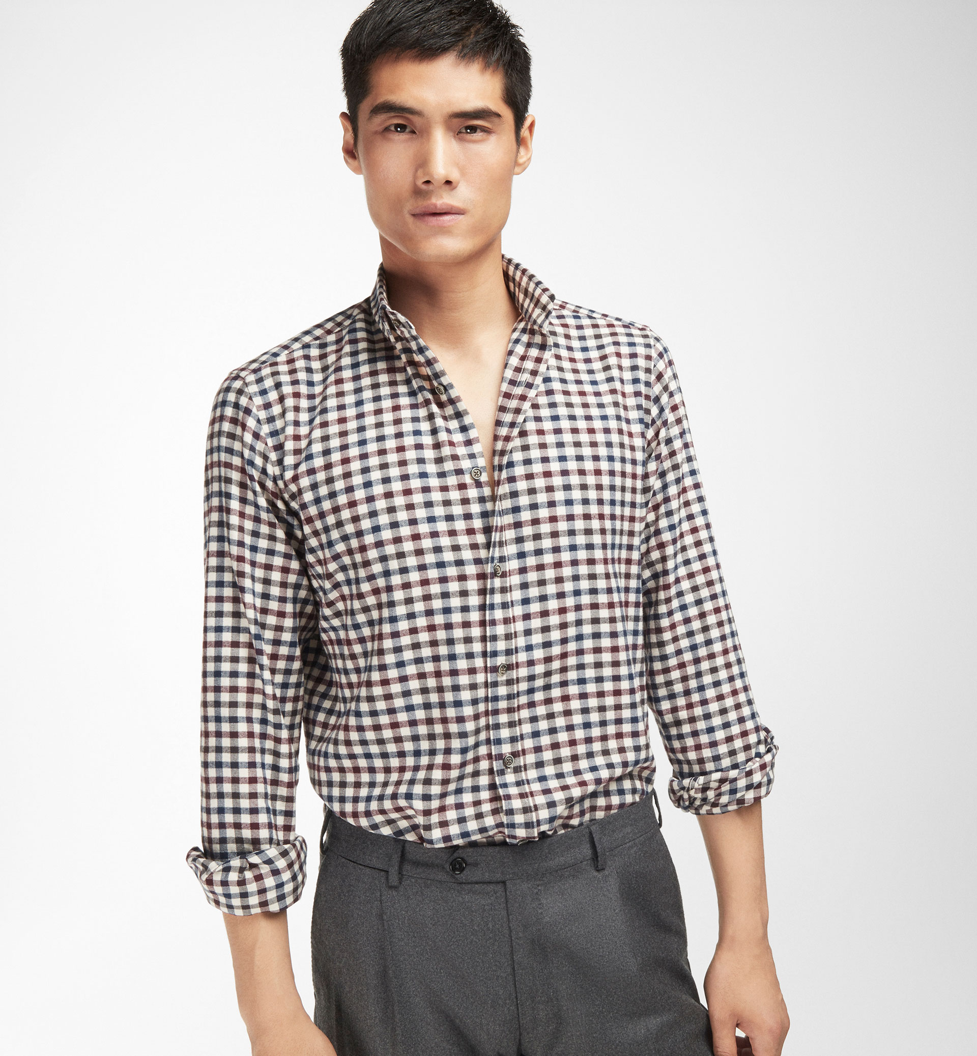 CHECKED HERRINGBONE SLIM SHIRT WITH ELBOW PATCHES