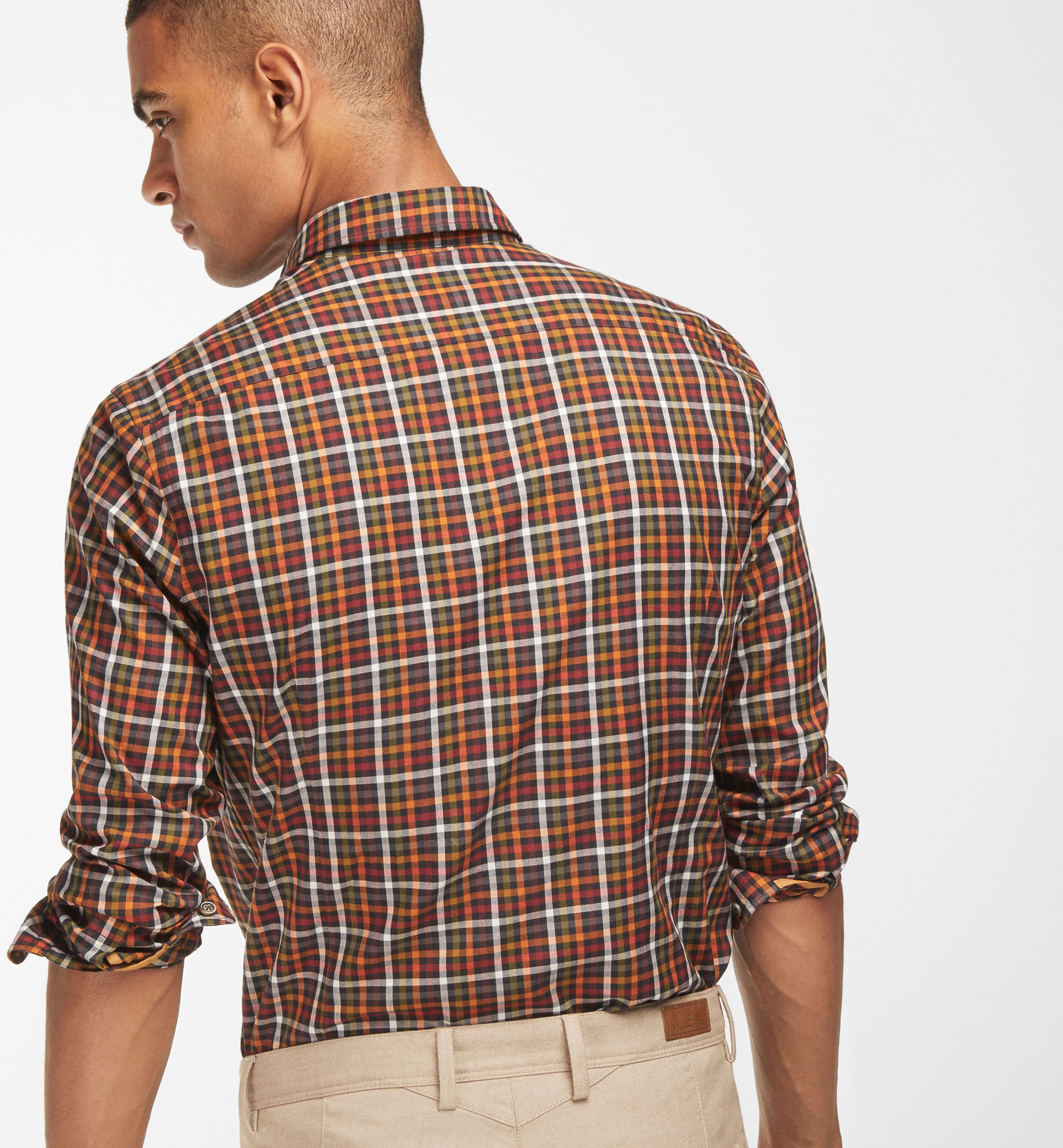 MULTICOLOURED CHECKED SLIM FIT SHIRT