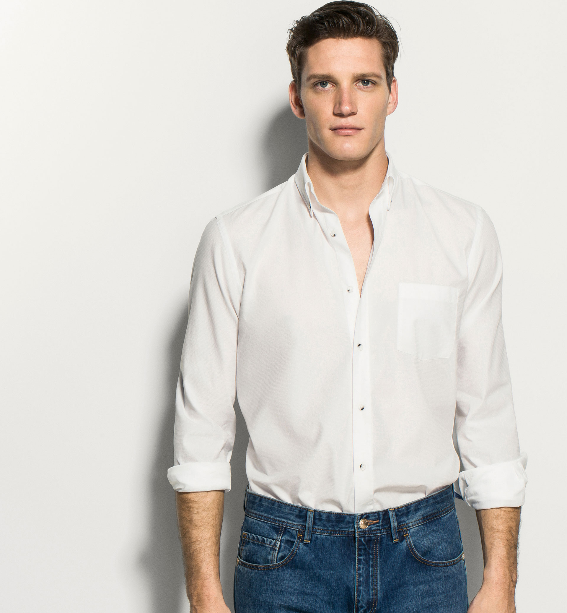 SLIM FIT WHITE SHIRT WITH ELBOW PATCHES