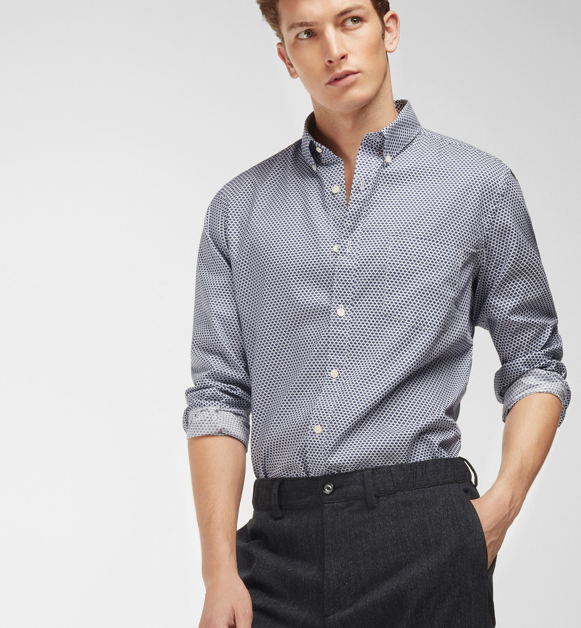 ARGYLE PRINT SLIM-FIT SHIRT