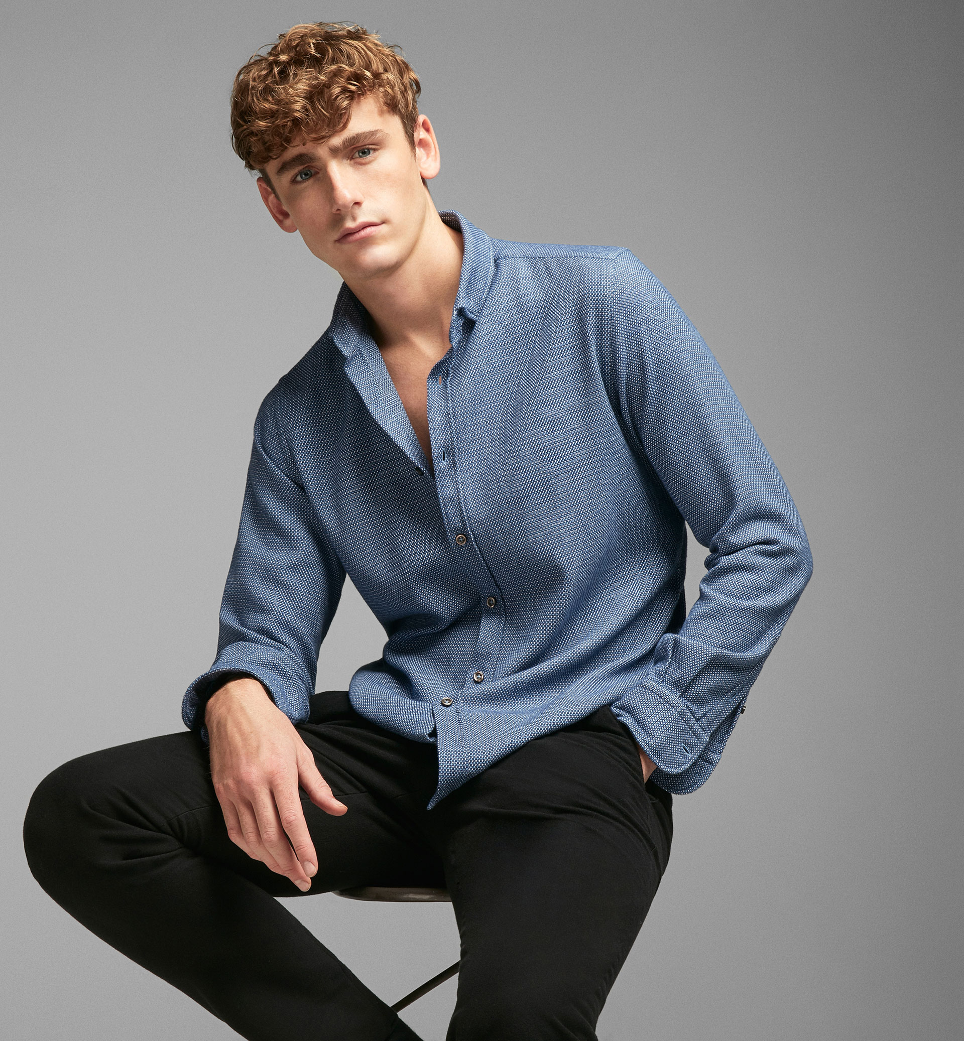 TEXTURED WEAVE BLUE SLIM SHIRT