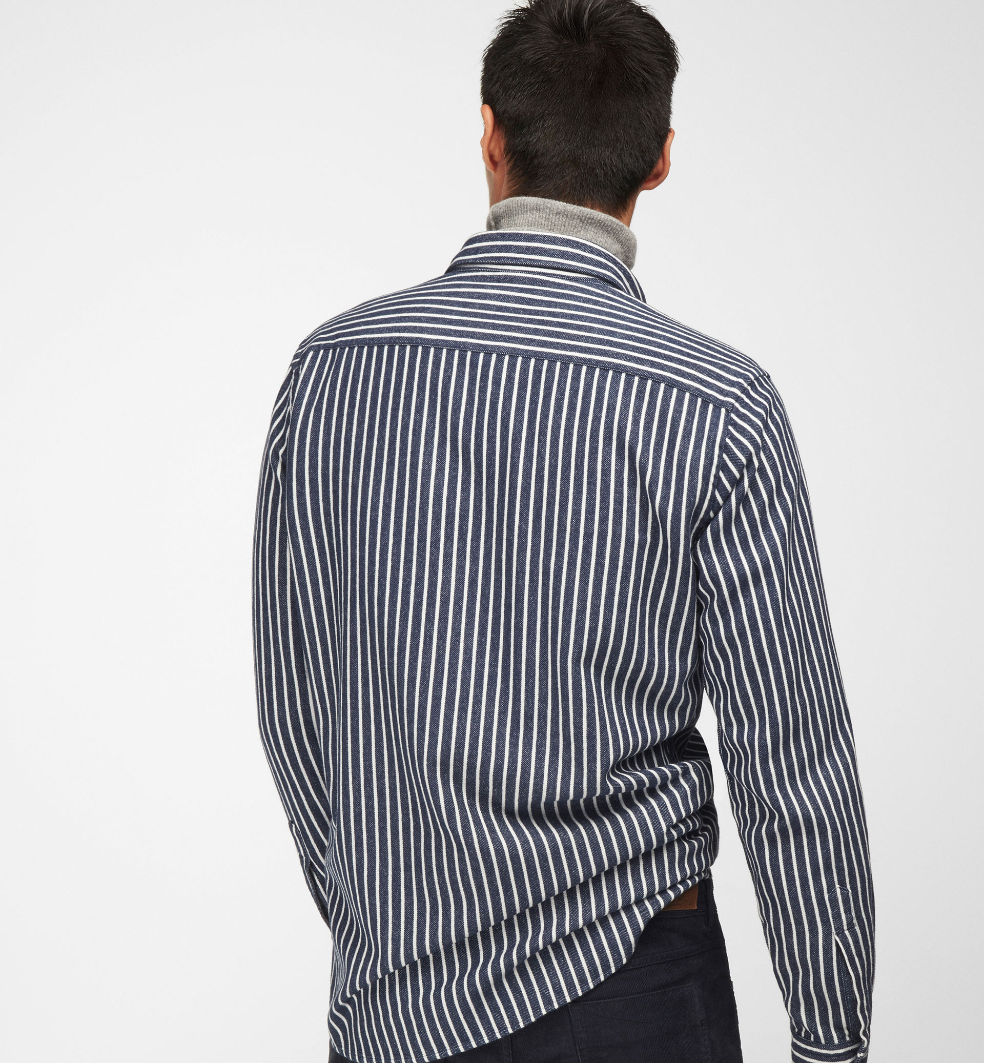 CHUNKY BLUE AND WHITE STRIPE SHIRT
