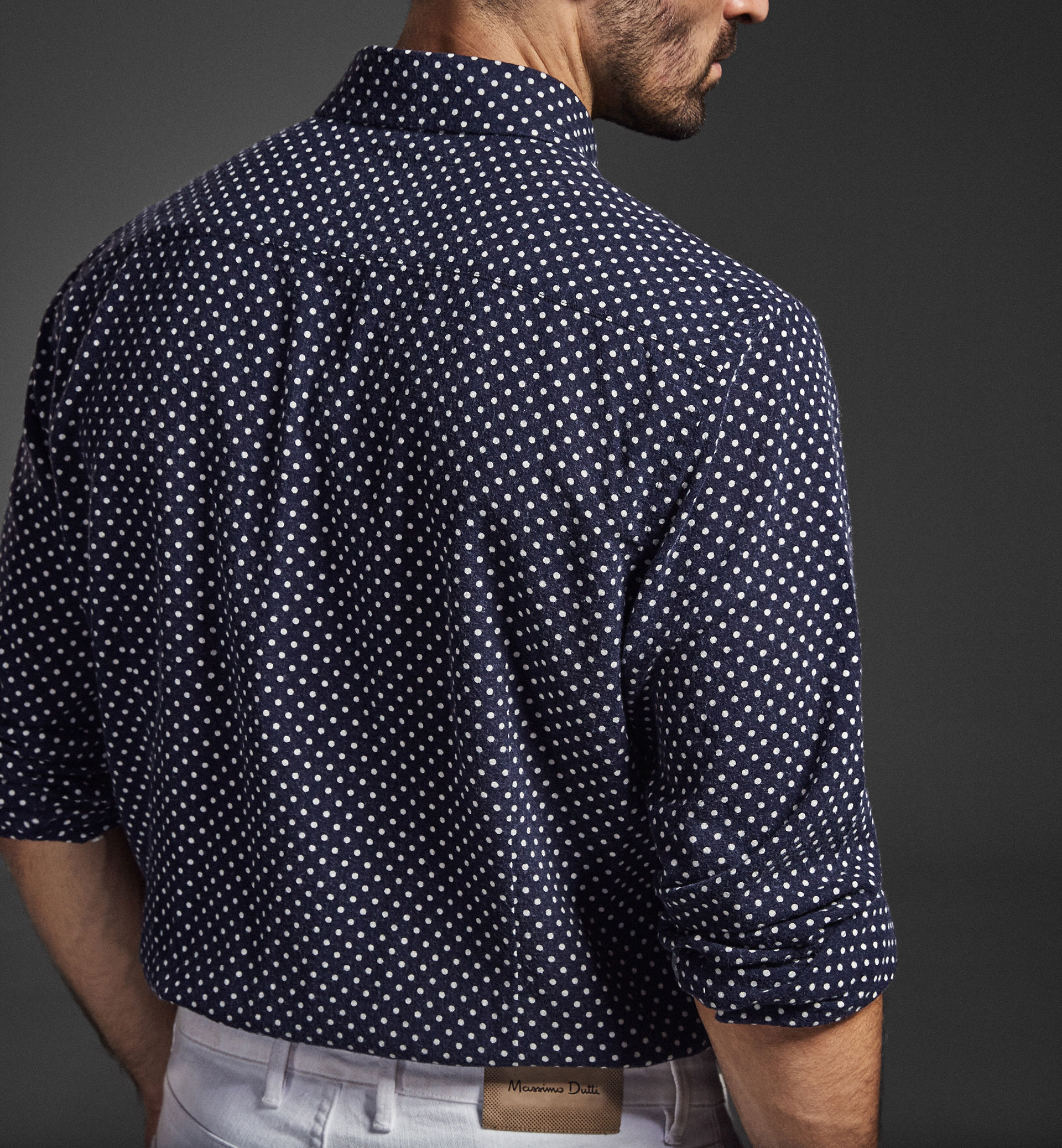 LIMITED EDITION BLUE SHIRT WITH POLKA DOT DETAILS