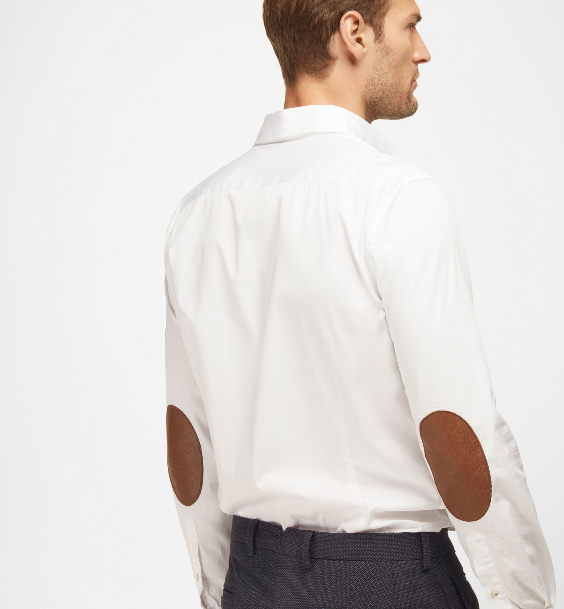 SLIM-FIT DYED SHIRT WITH ELBOW PATCHES
