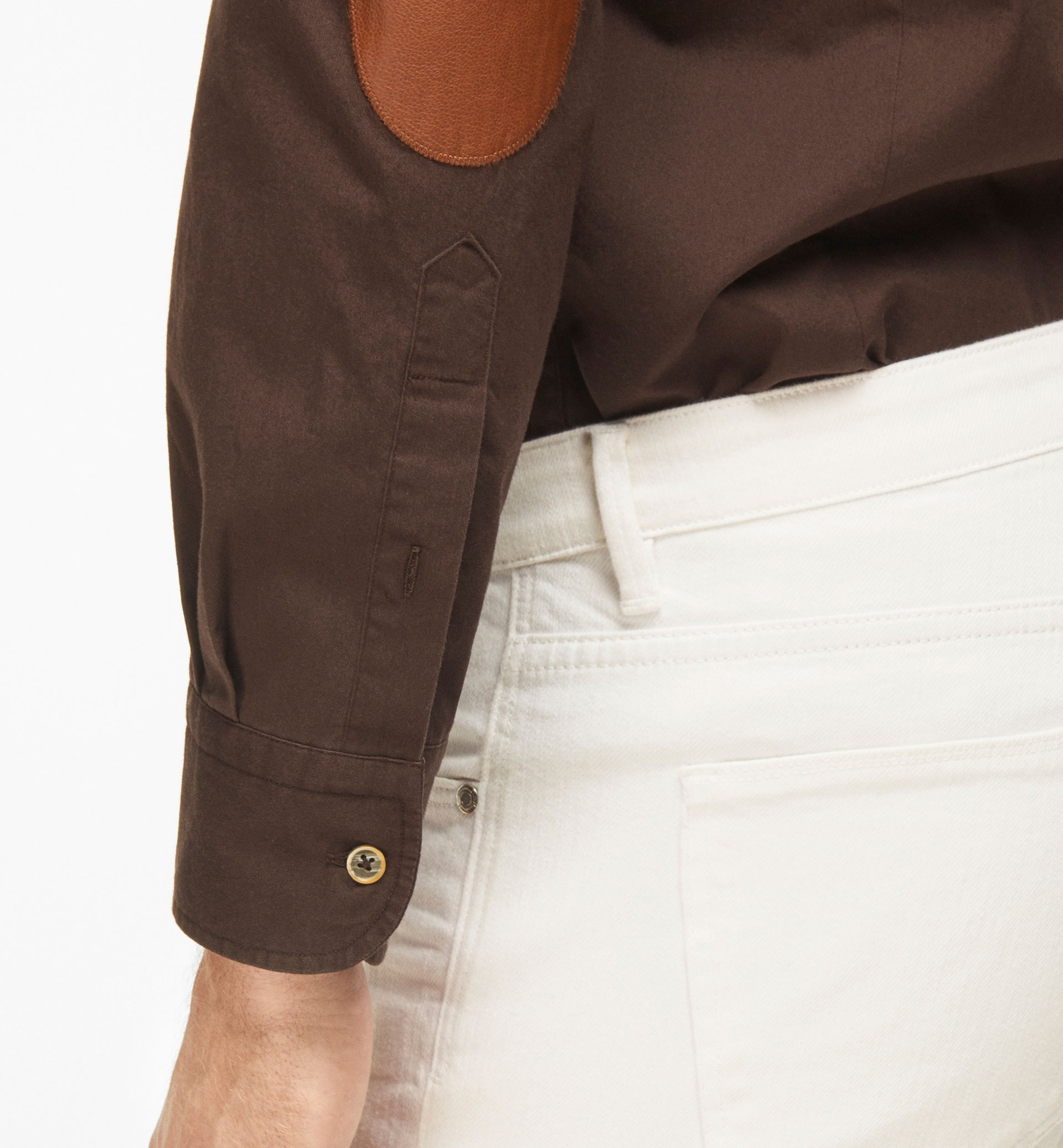 SLIM FIT PLAIN BROWN SHIRT WITH LEATHER ELBOW PATCHES