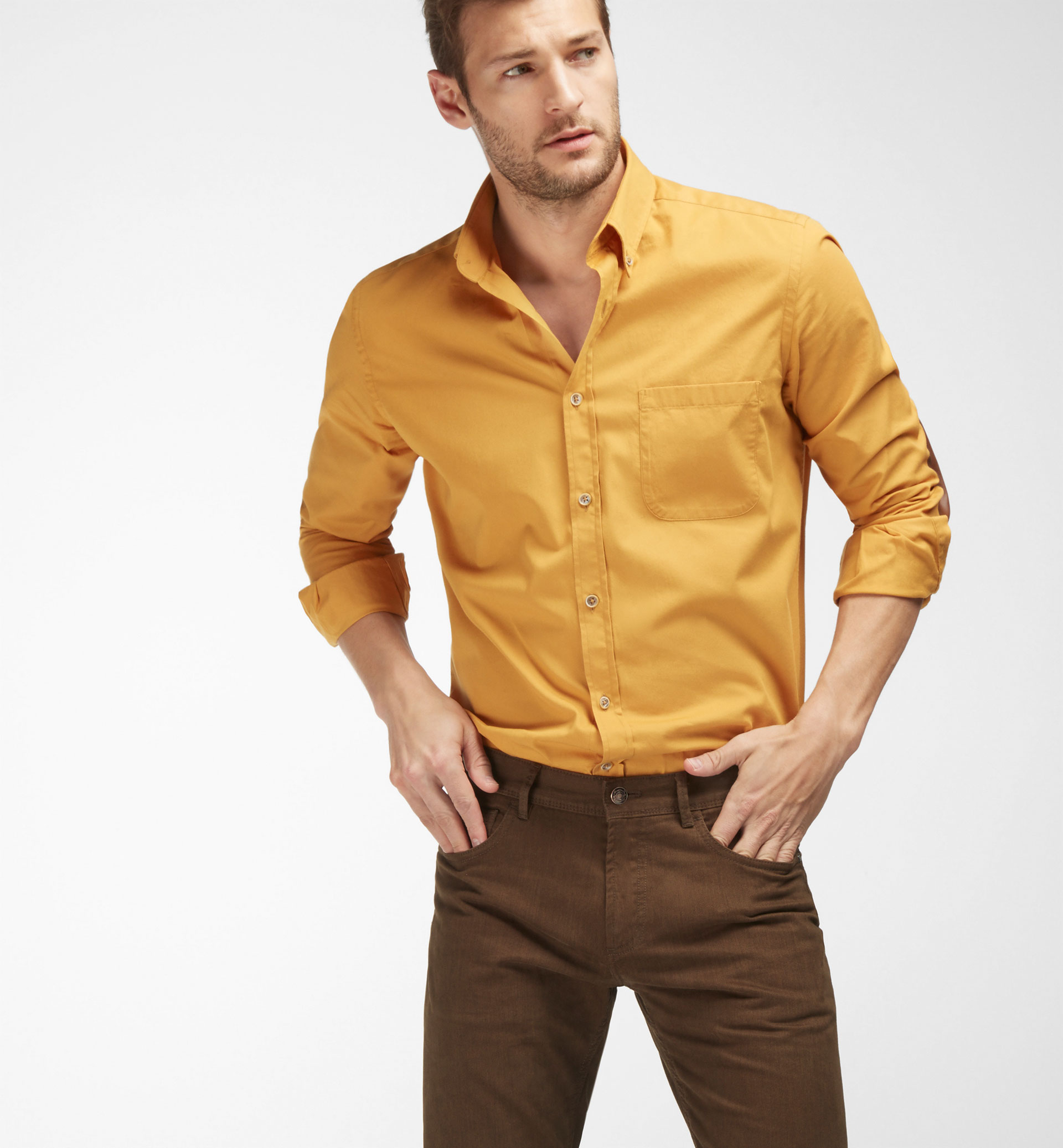 SLIM FIT PLAIN SHIRT WITH LEATHER ELBOW PATCHES